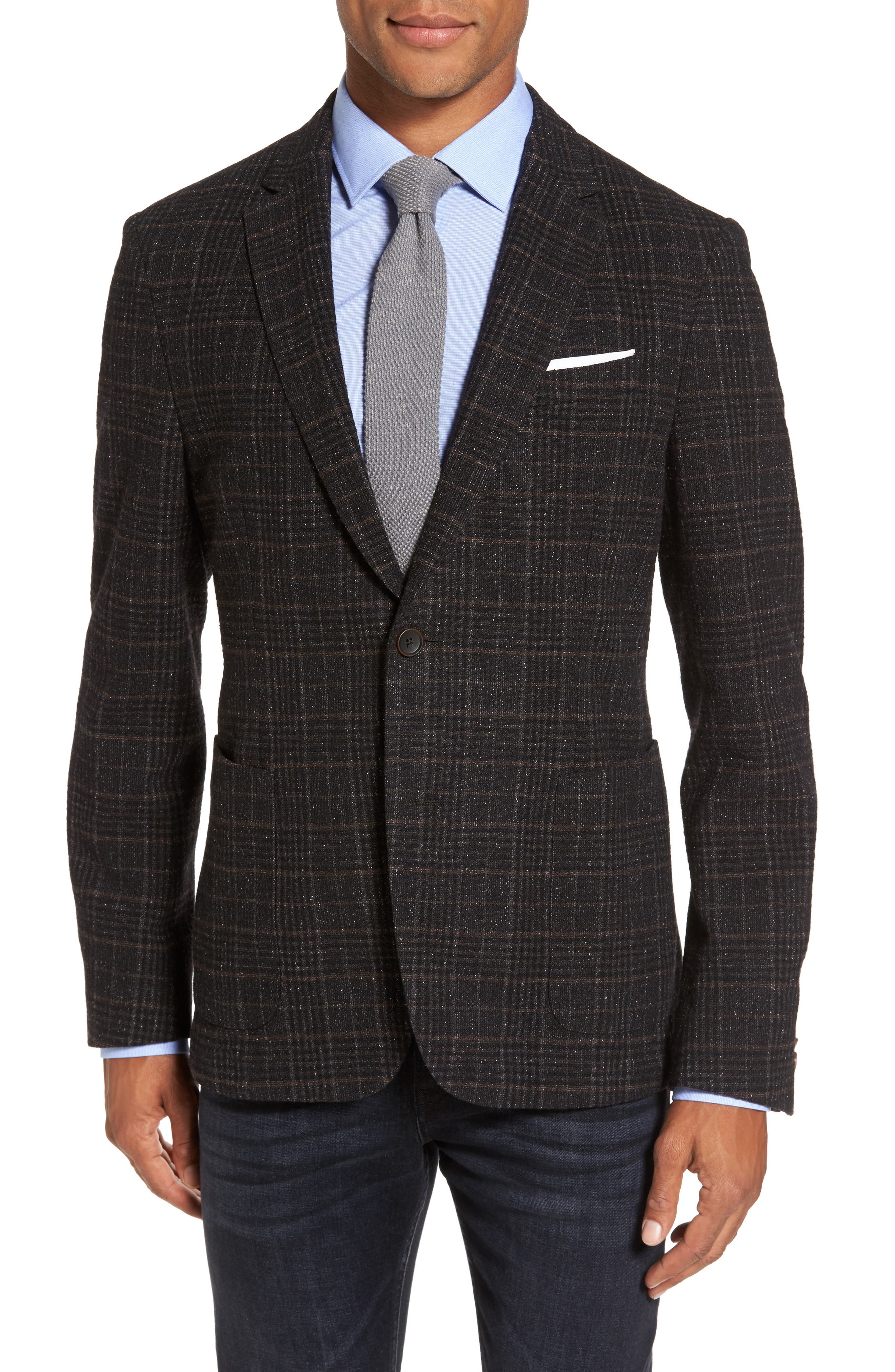 BOSS Nold Trim Fit Plaid Wool Blend Sport Coat