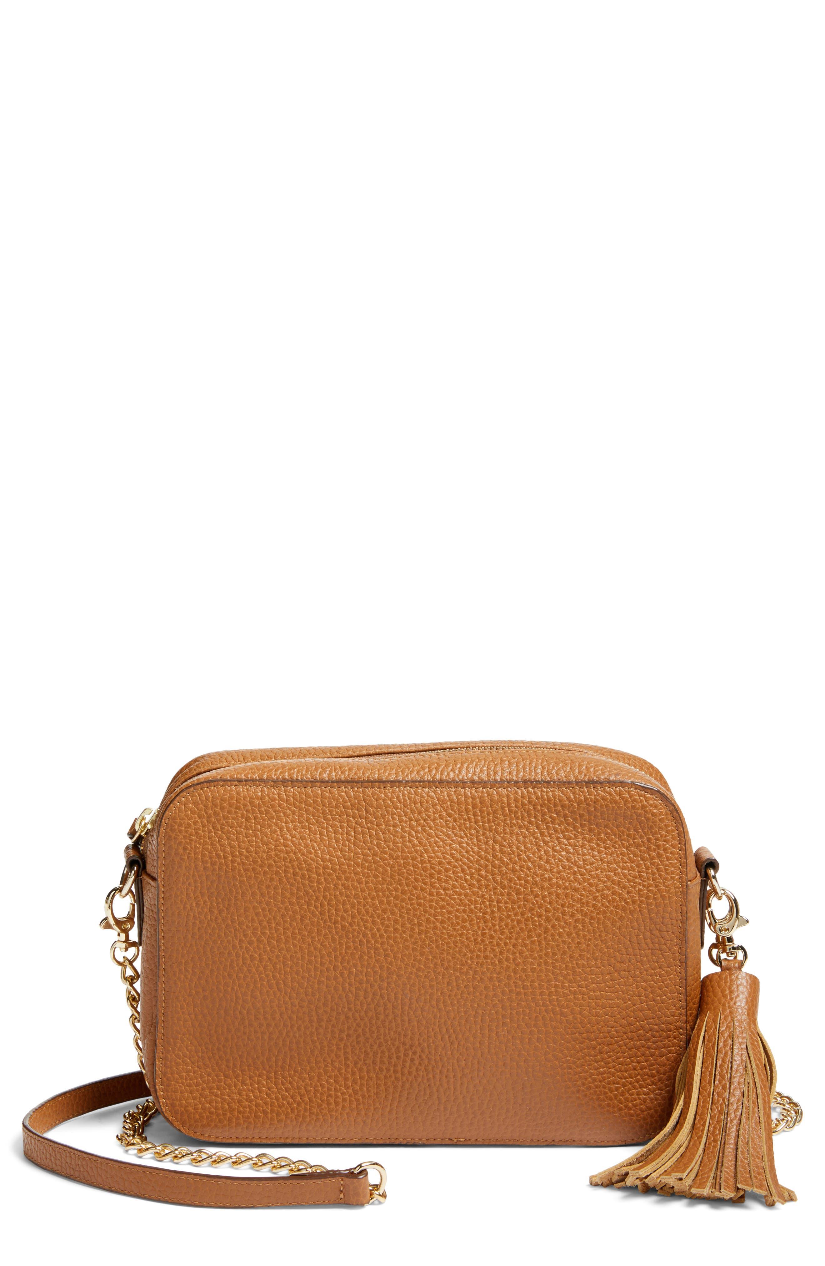 Ella Tassel Leather Crossbody Bag,                         Main,                         color, Tan Spice