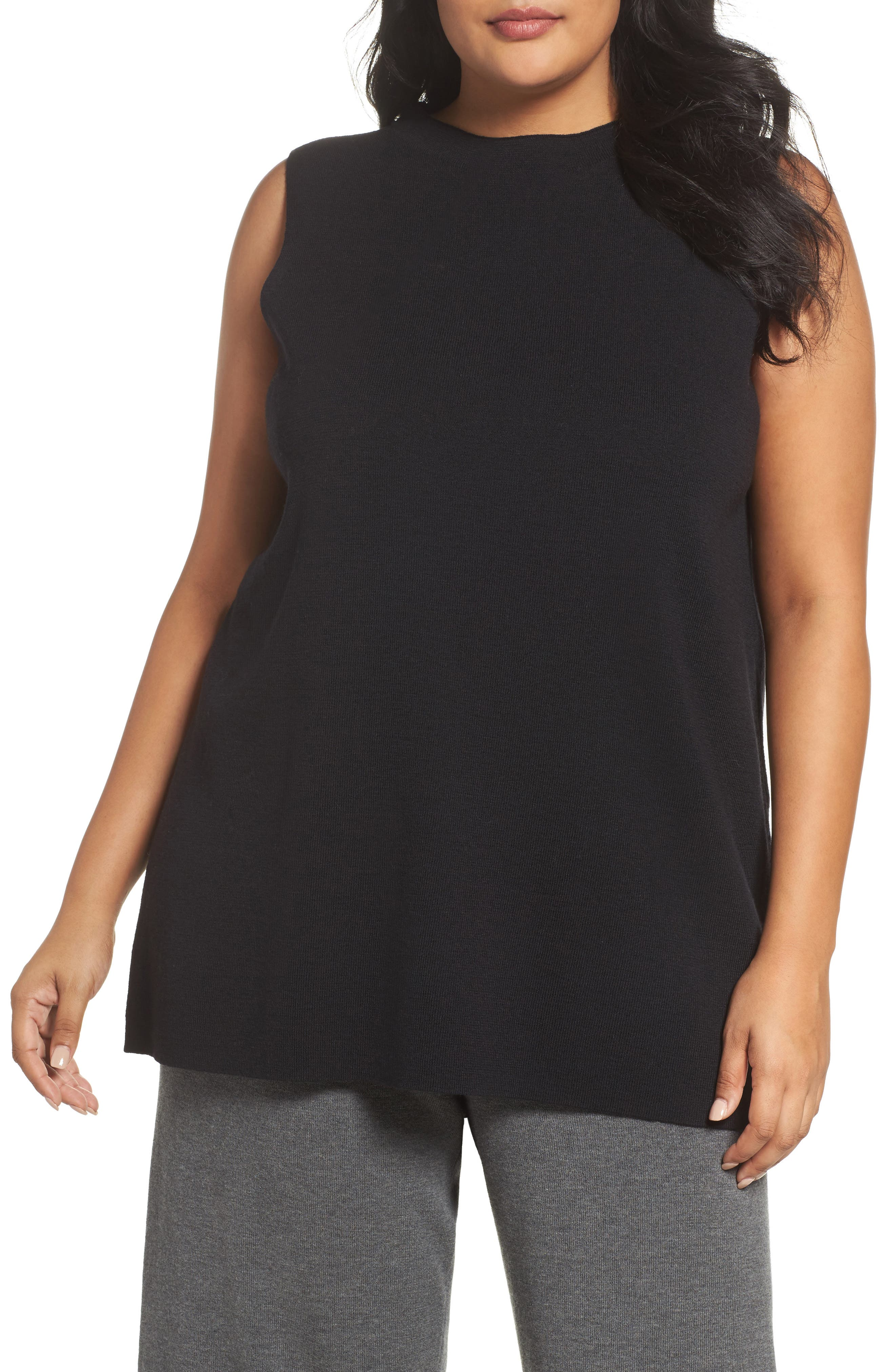 Wool Knit Tunic,                         Main,                         color, Black