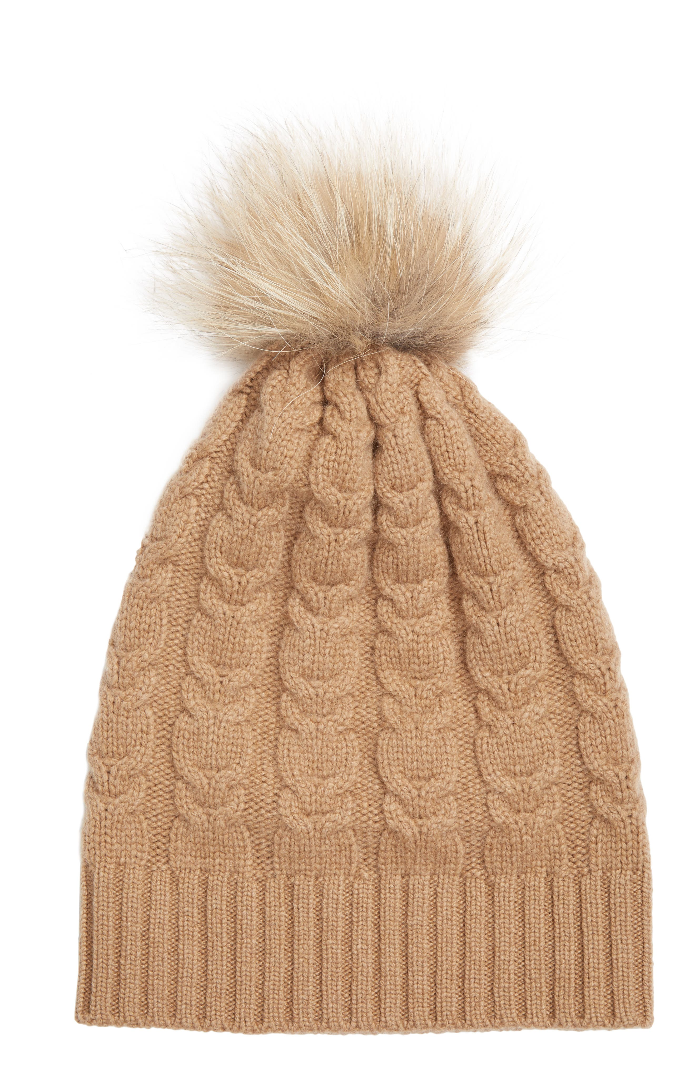 Cable Knit Cashmere Beanie with Genuine Fox Fur Pom,                         Main,                         color, Camel