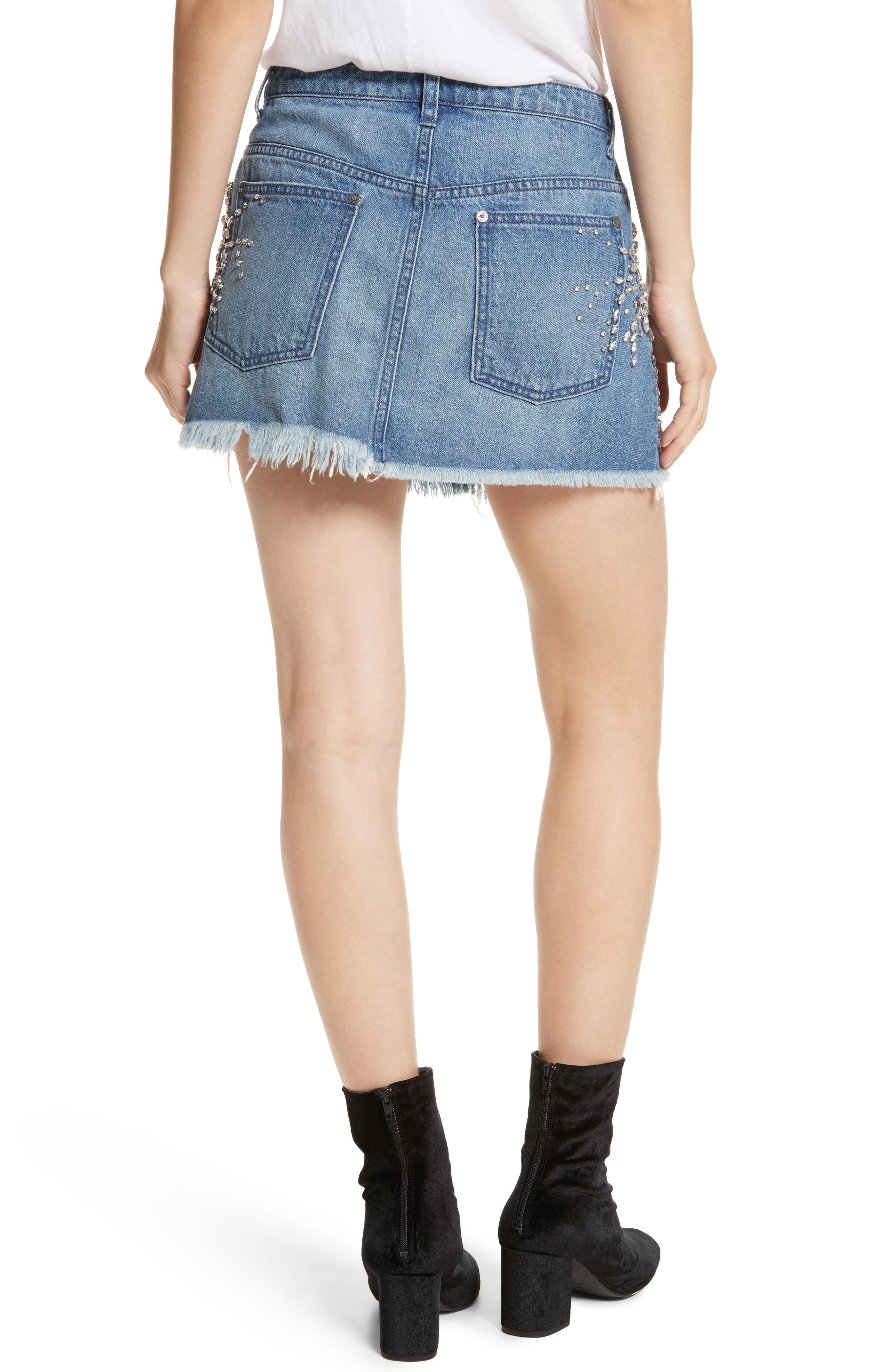 Alternate Image 2  - Free People Shine Bright Shine Far Cutoff Denim Miniskirt