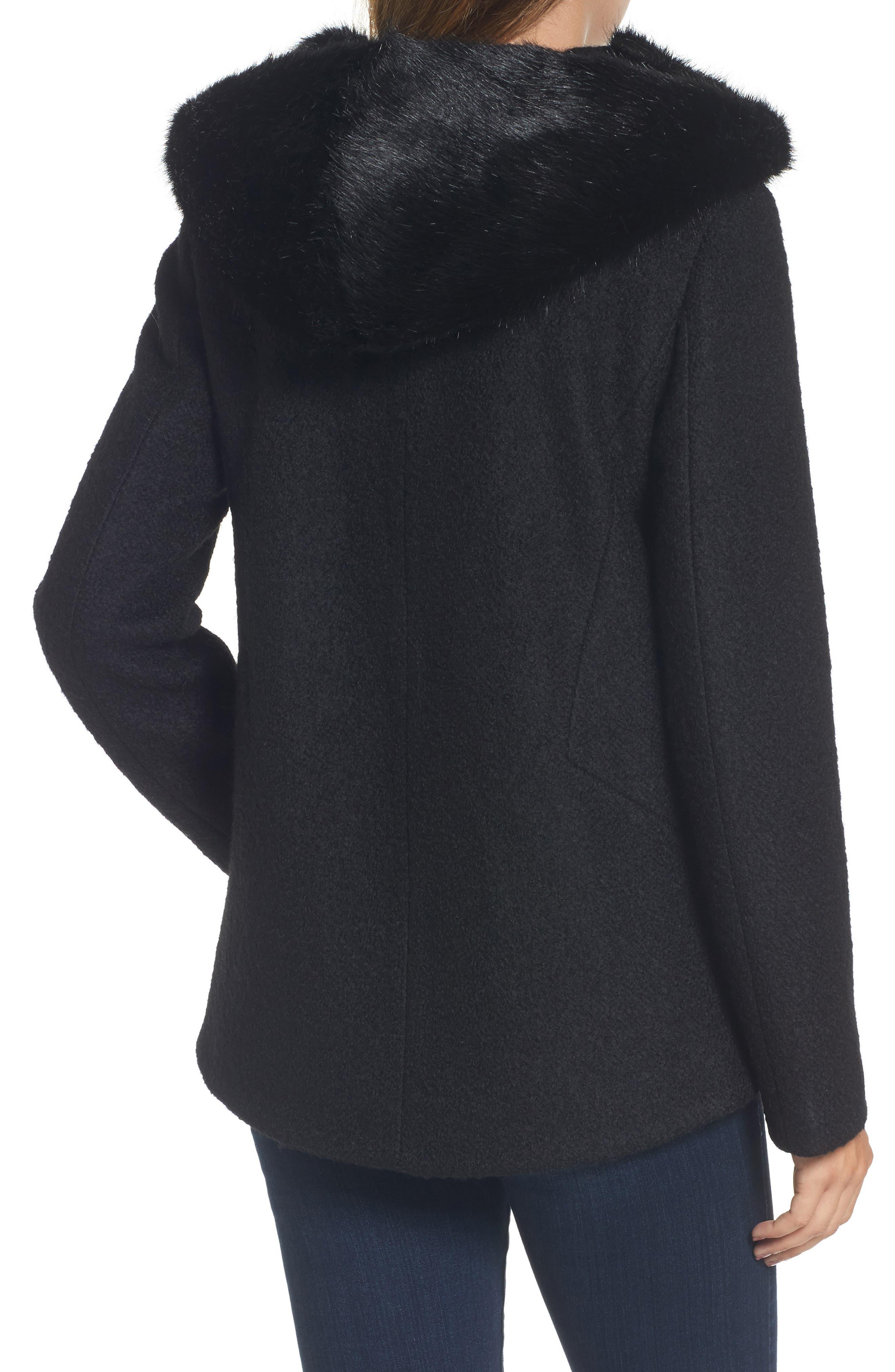 Hooded Wool Blend Bouclé Jacket with Faux Fur Trim,                             Alternate thumbnail 2, color,                             Black