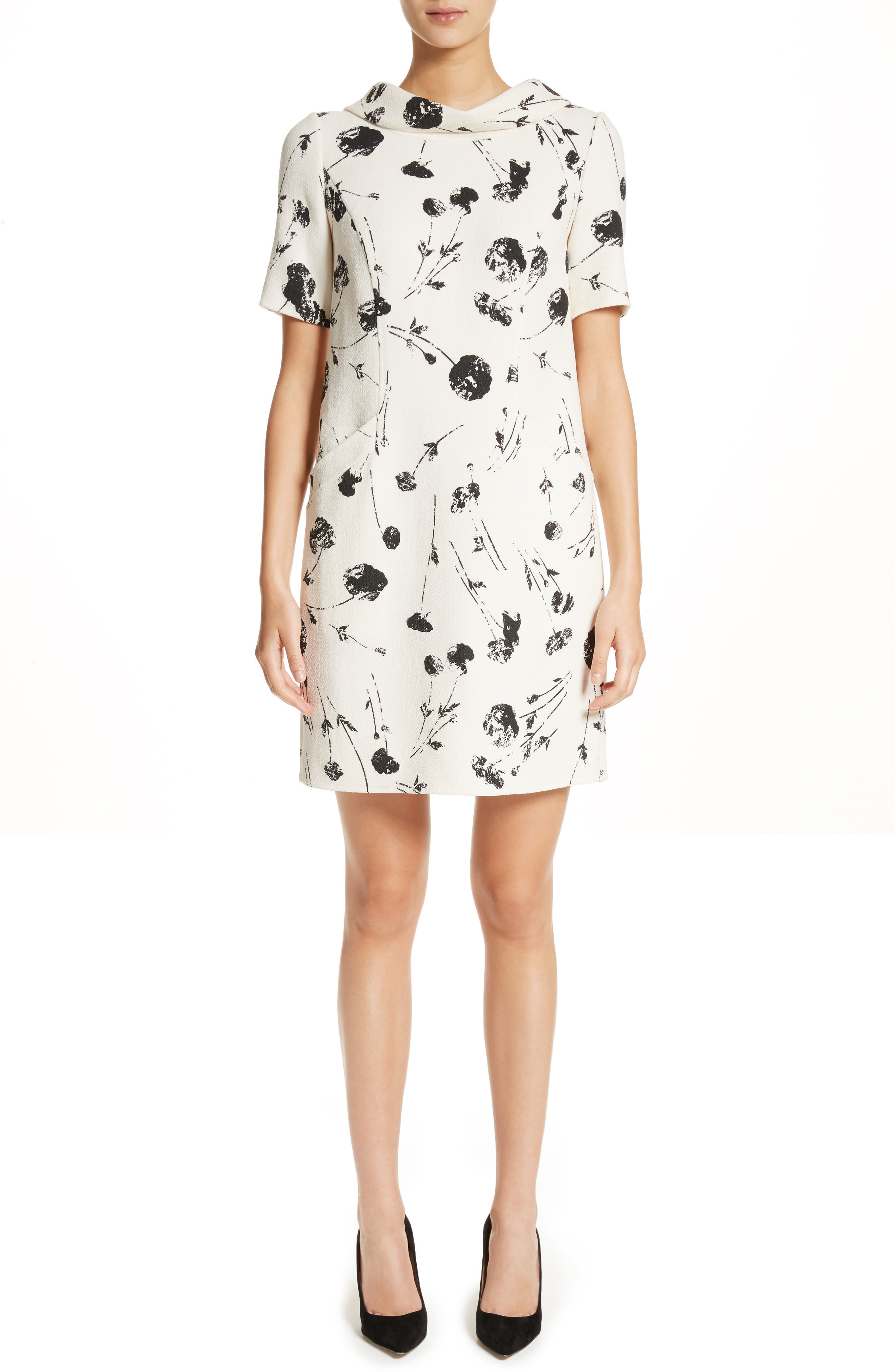 Tossed Poppies Print Crepe Shift Dress,                         Main,                         color, Ivory/ Black