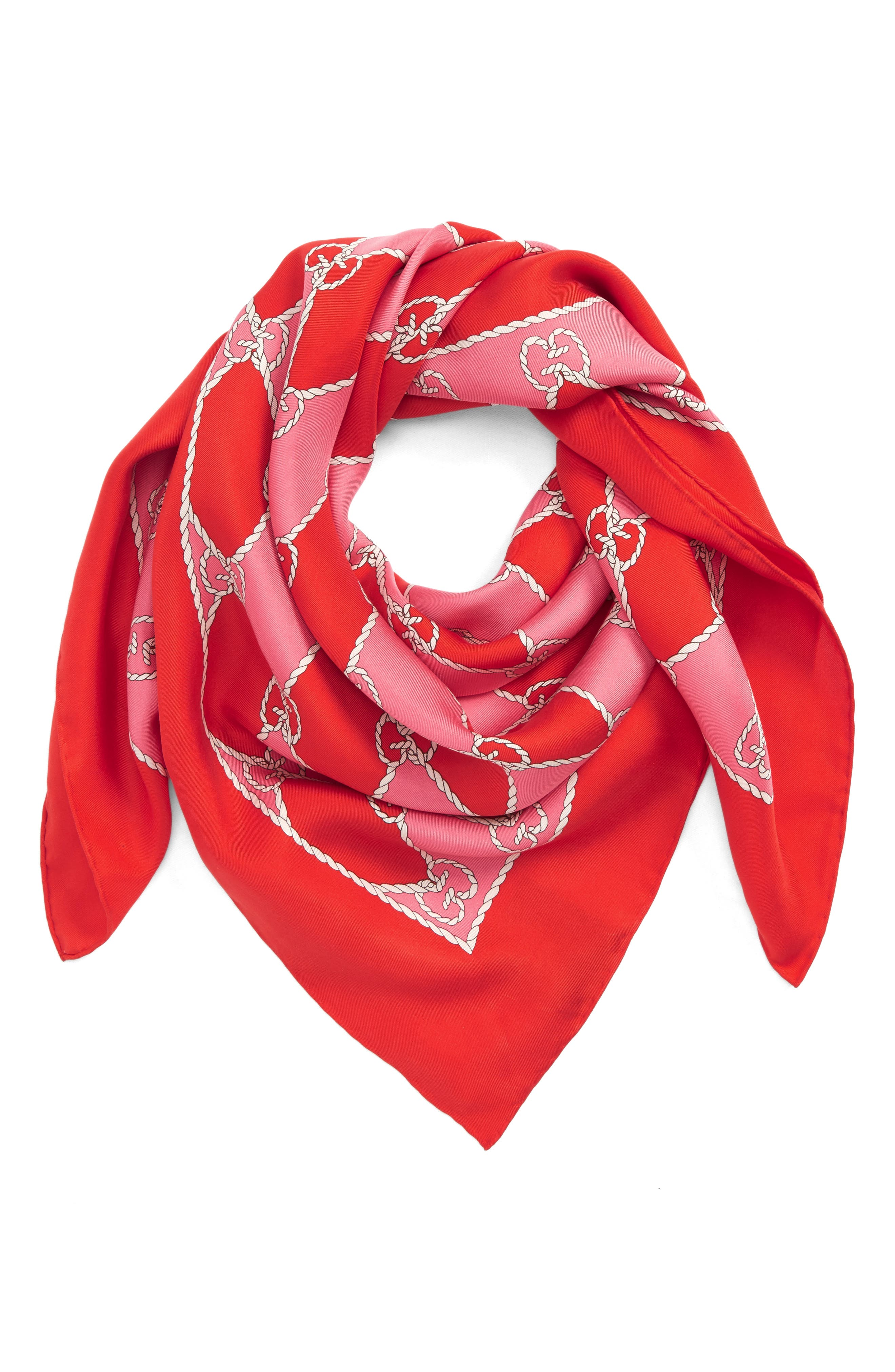 Rhombus Chane Square Foulard Silk Scarf,                             Alternate thumbnail 3, color,                             Red/ Pink
