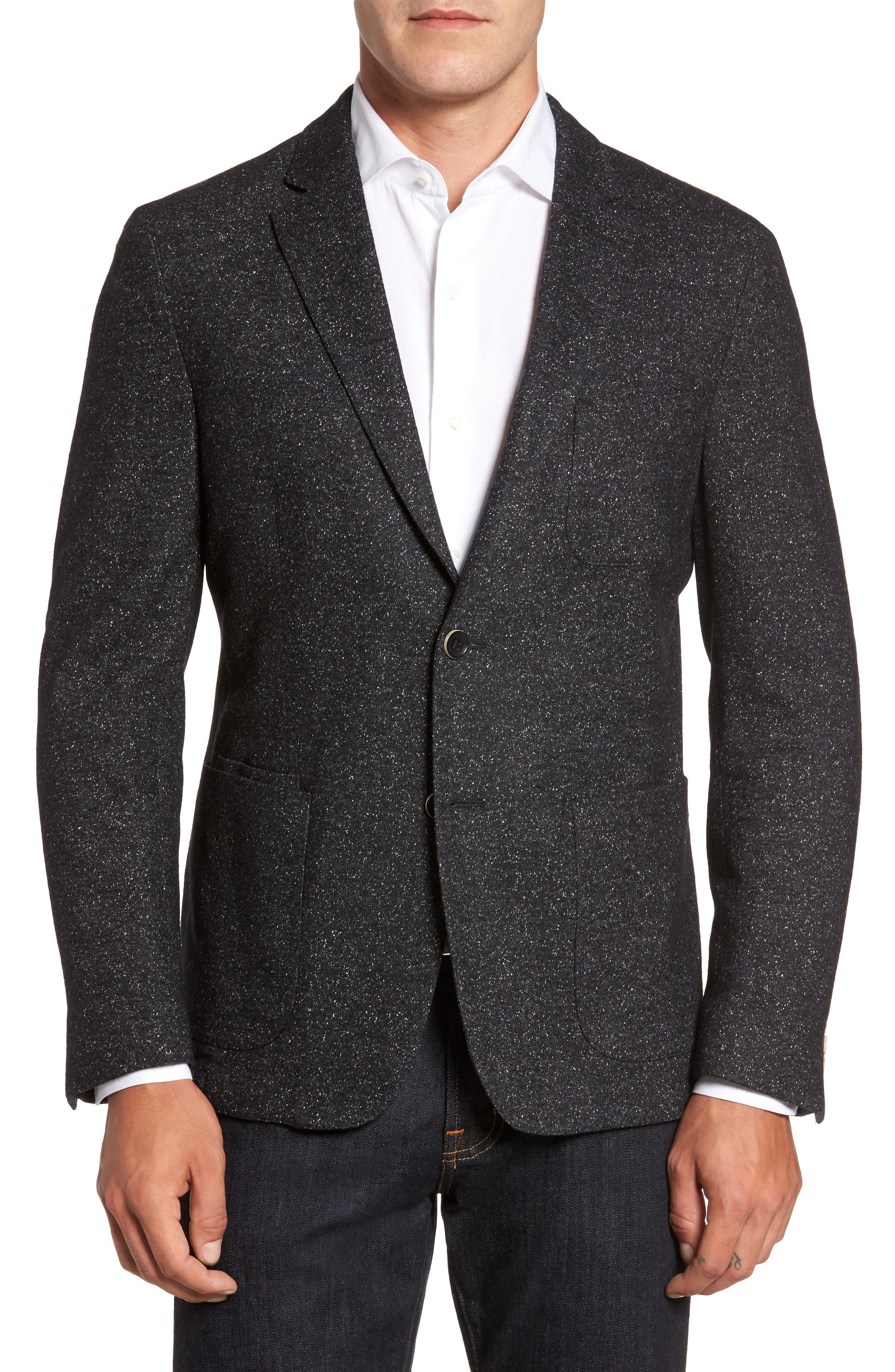 Donegal Classic Fit Suede Trim Jersey Sport Coat,                         Main,                         color, Charcoal