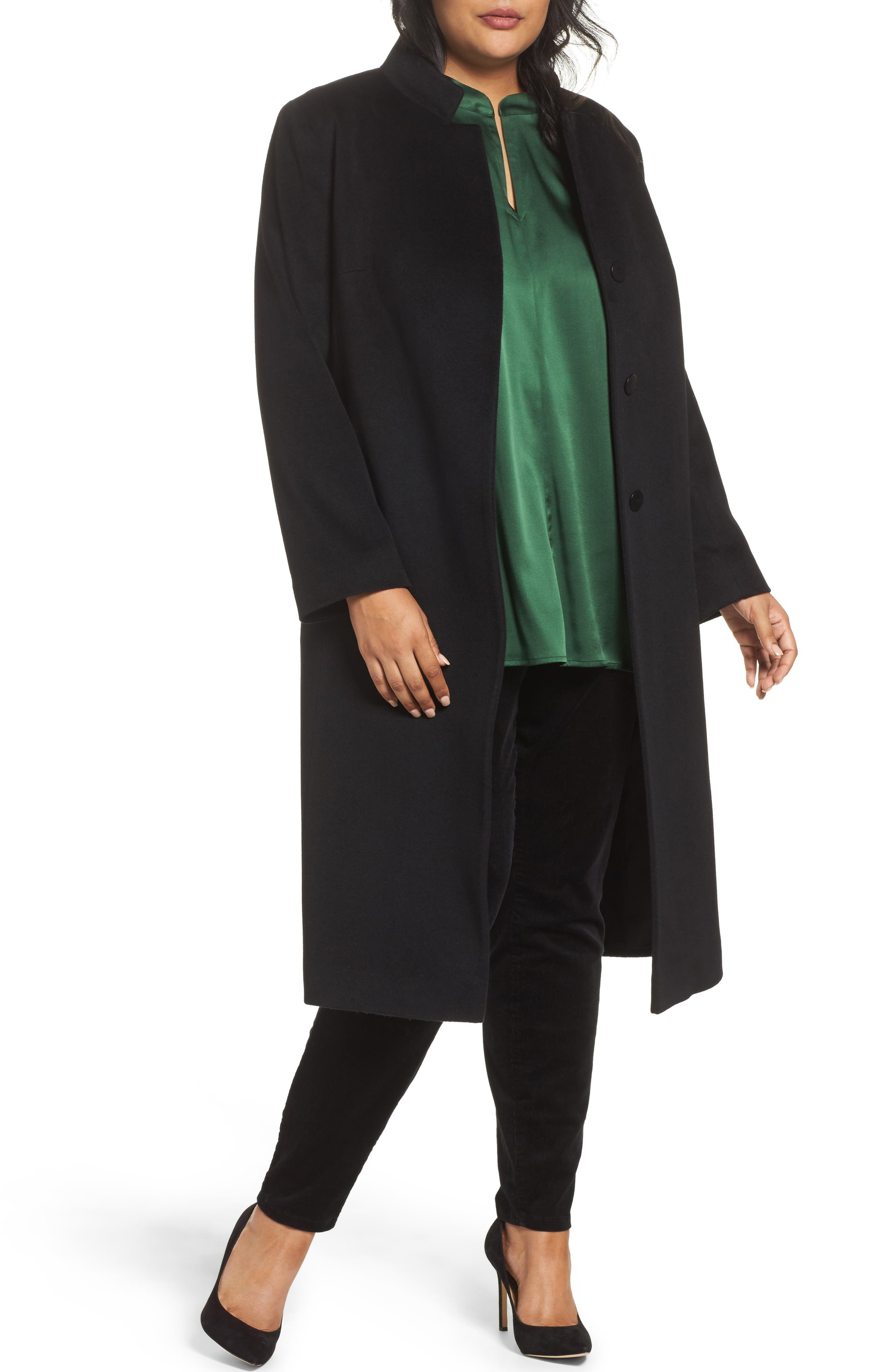 Fleurette Inverted Lapel Loro Piana Wool Coat (Plus Size)