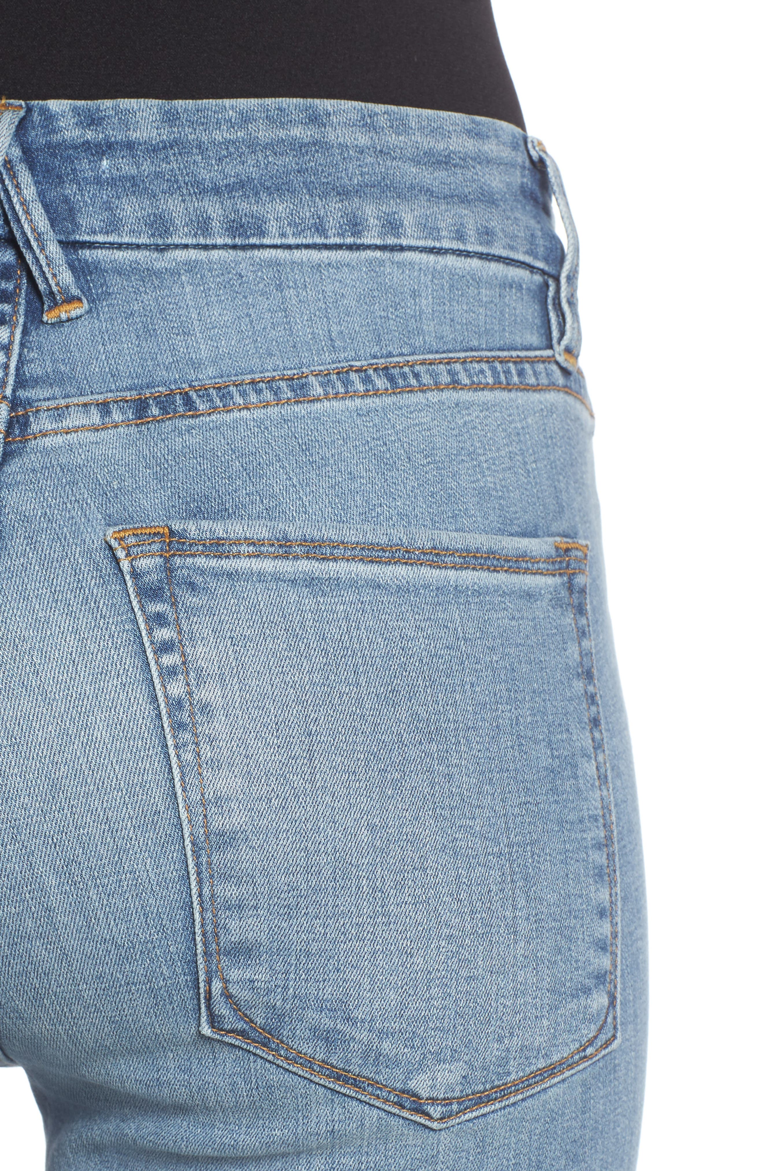 Alternate Image 6  - Good American Good Straight High Rise Jeans (Blue 087) (Regular & Plus Size)