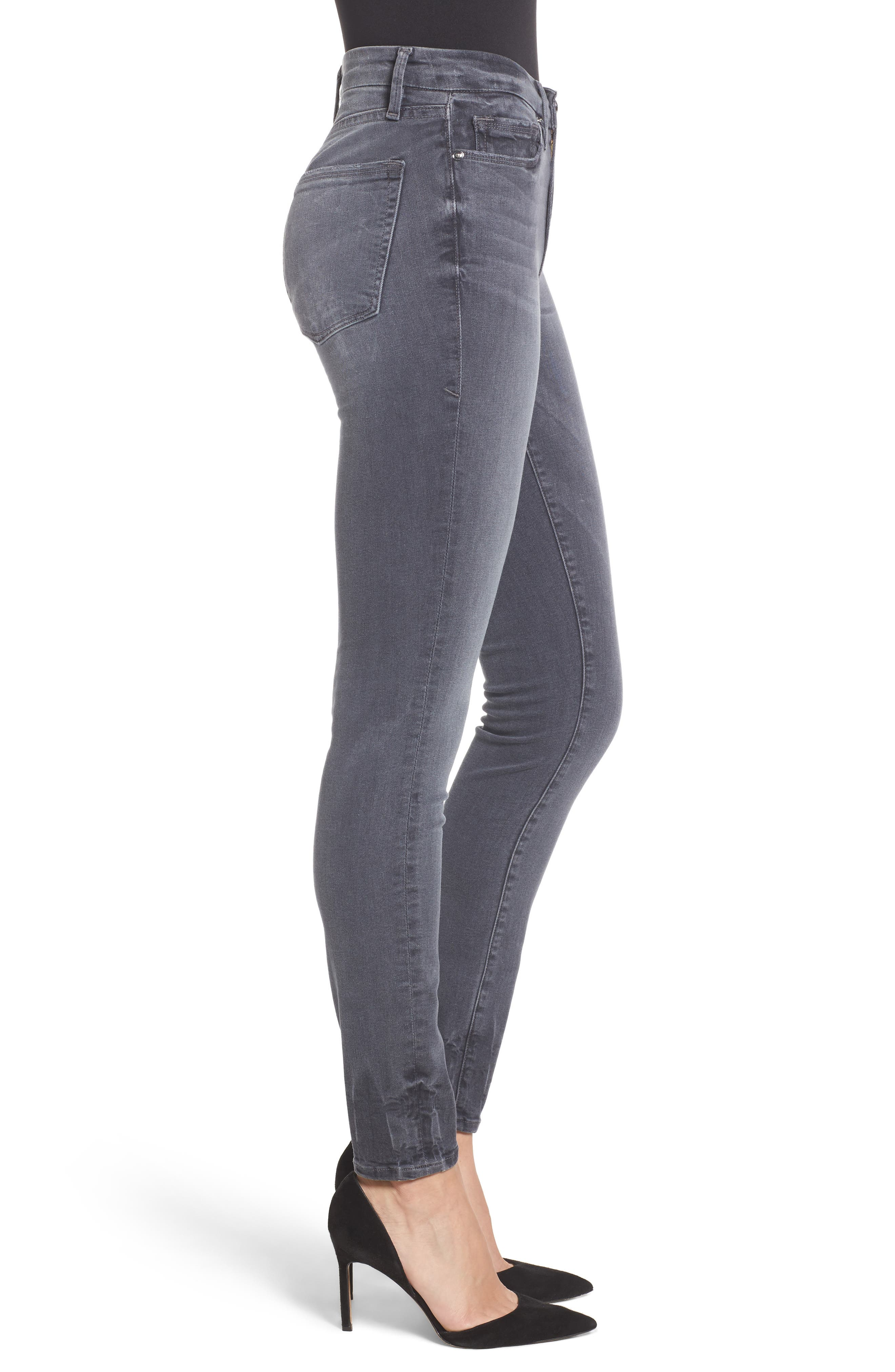 Alternate Image 3  - Good American Good Legs High Waist Skinny Jeans (Grey 002) (Extended Sizes)