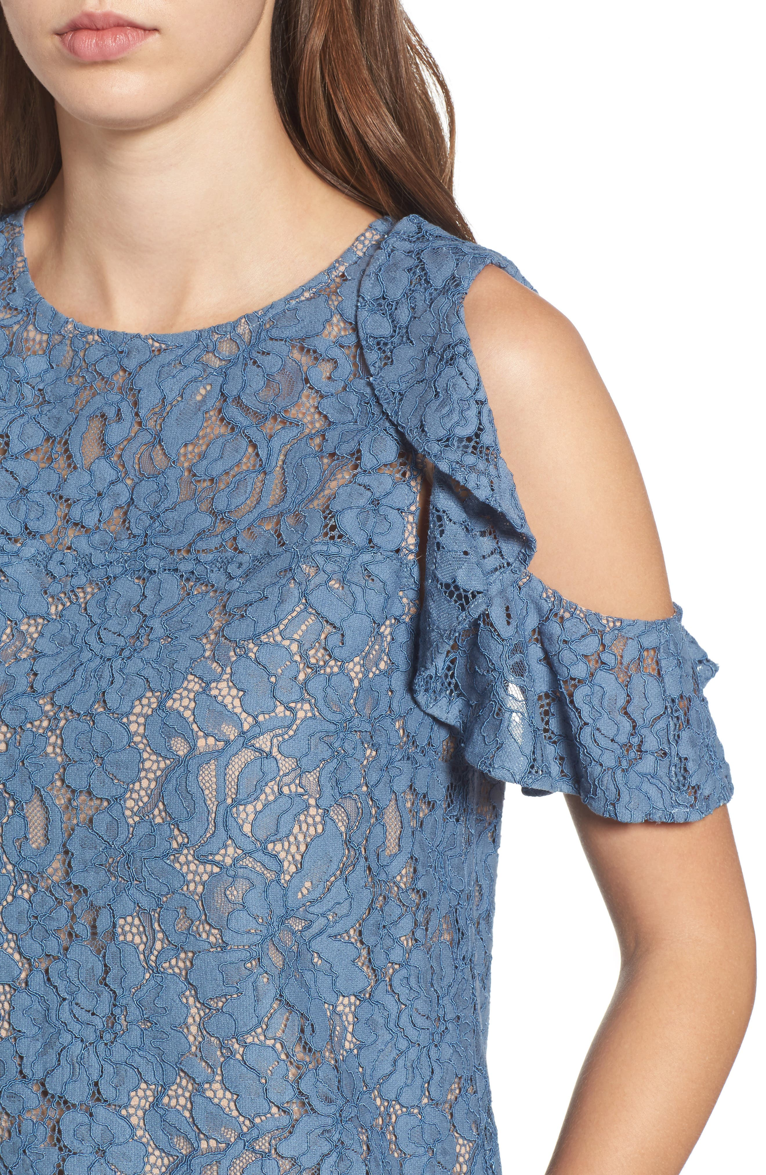 Ryder Ruffle Cold Shoulder Lace Top,                             Alternate thumbnail 4, color,                             Slate Blue Lace