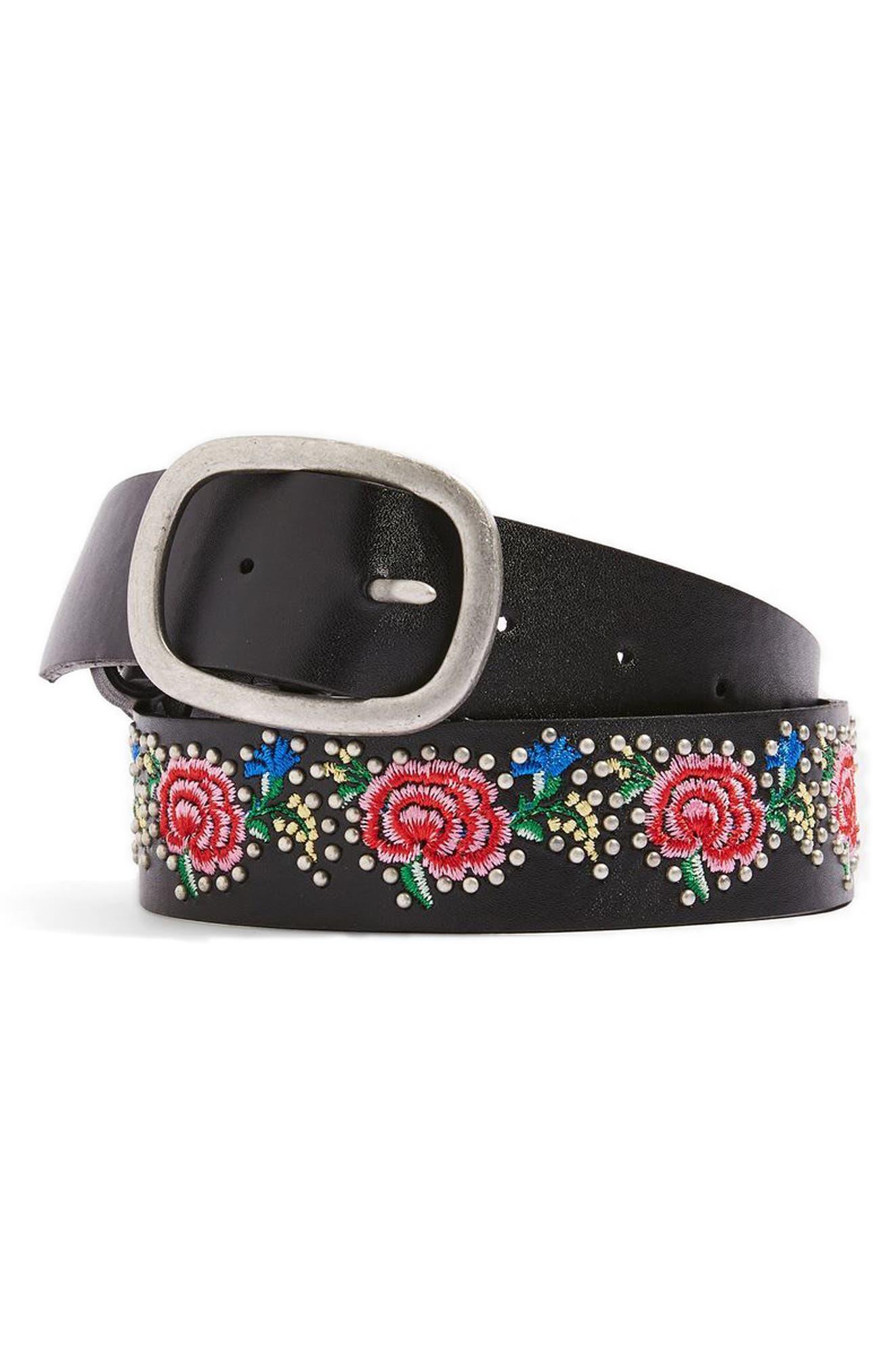 Topshop Floral Embroidered Belt