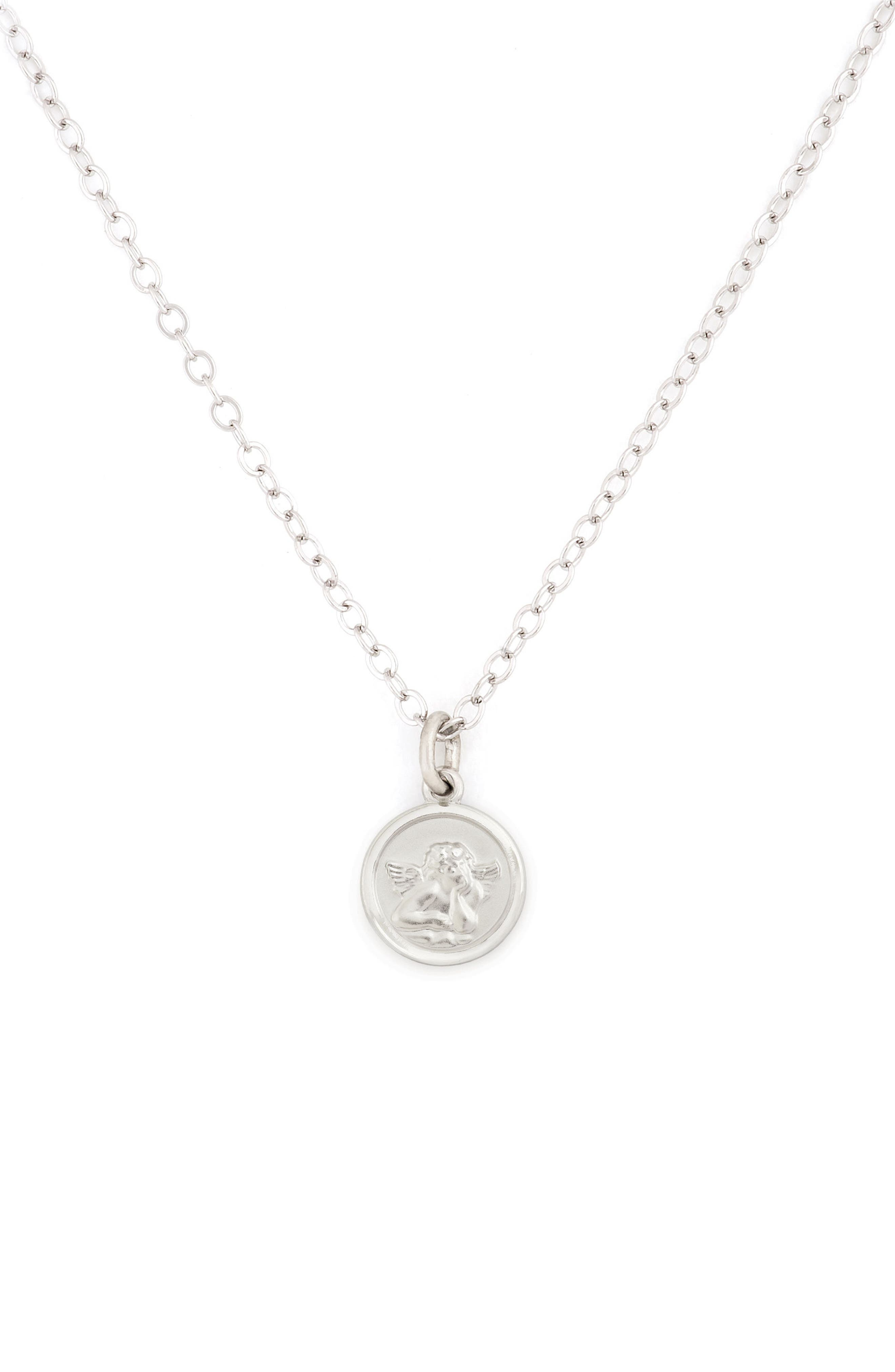 Cherub Medal Sterling Silver Pendant Necklace,                             Main thumbnail 1, color,                             Silver