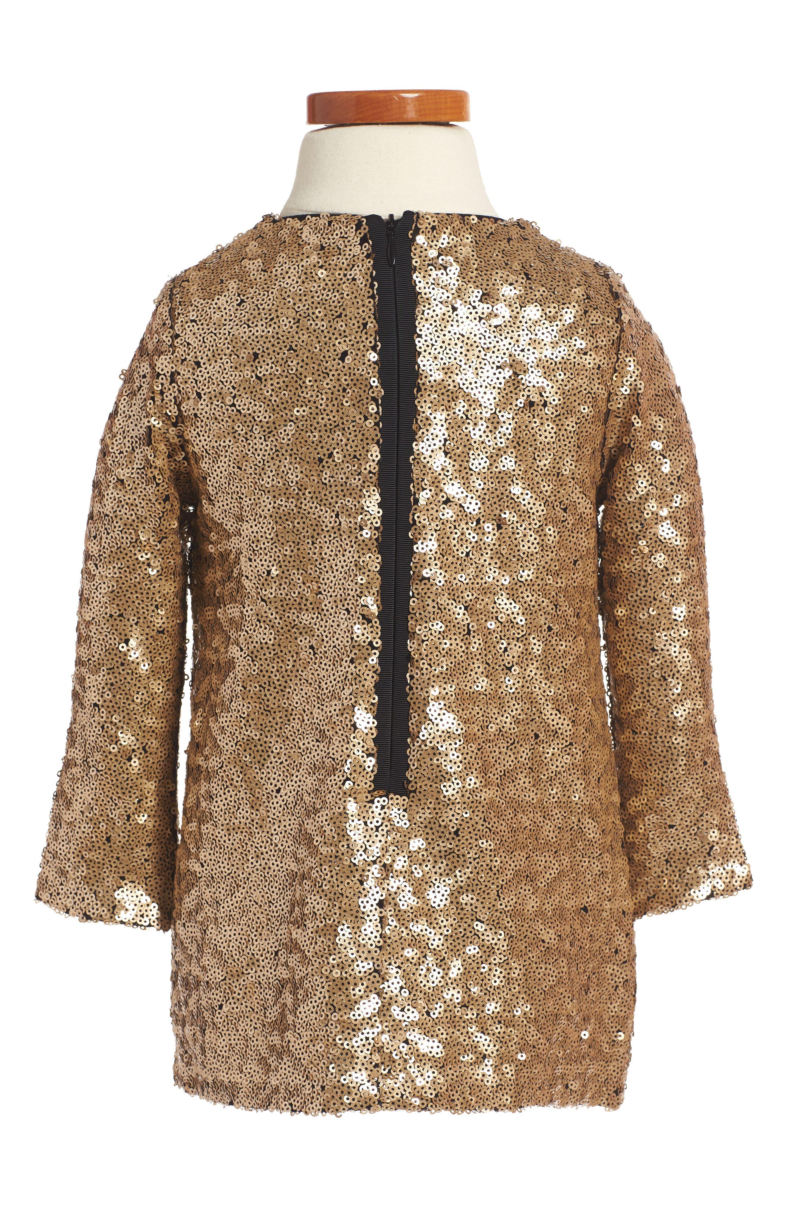 Paradise Sequin Shift Dress,                             Alternate thumbnail 2, color,                             Gold Yellow