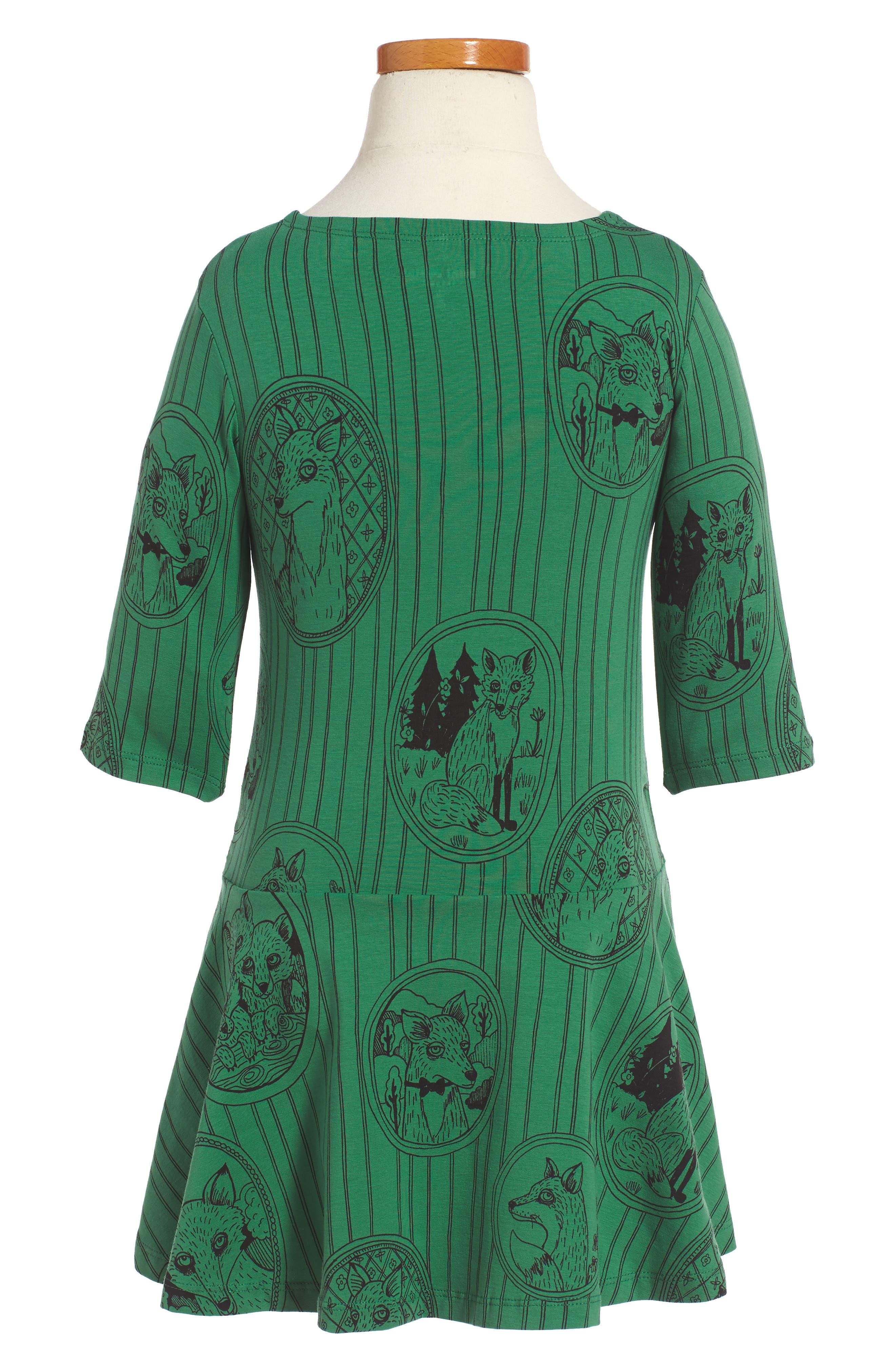 Alternate Image 2  - Mini Rodini Fox Family Drop Waist Dress (Toddler Girls & Little Girls)