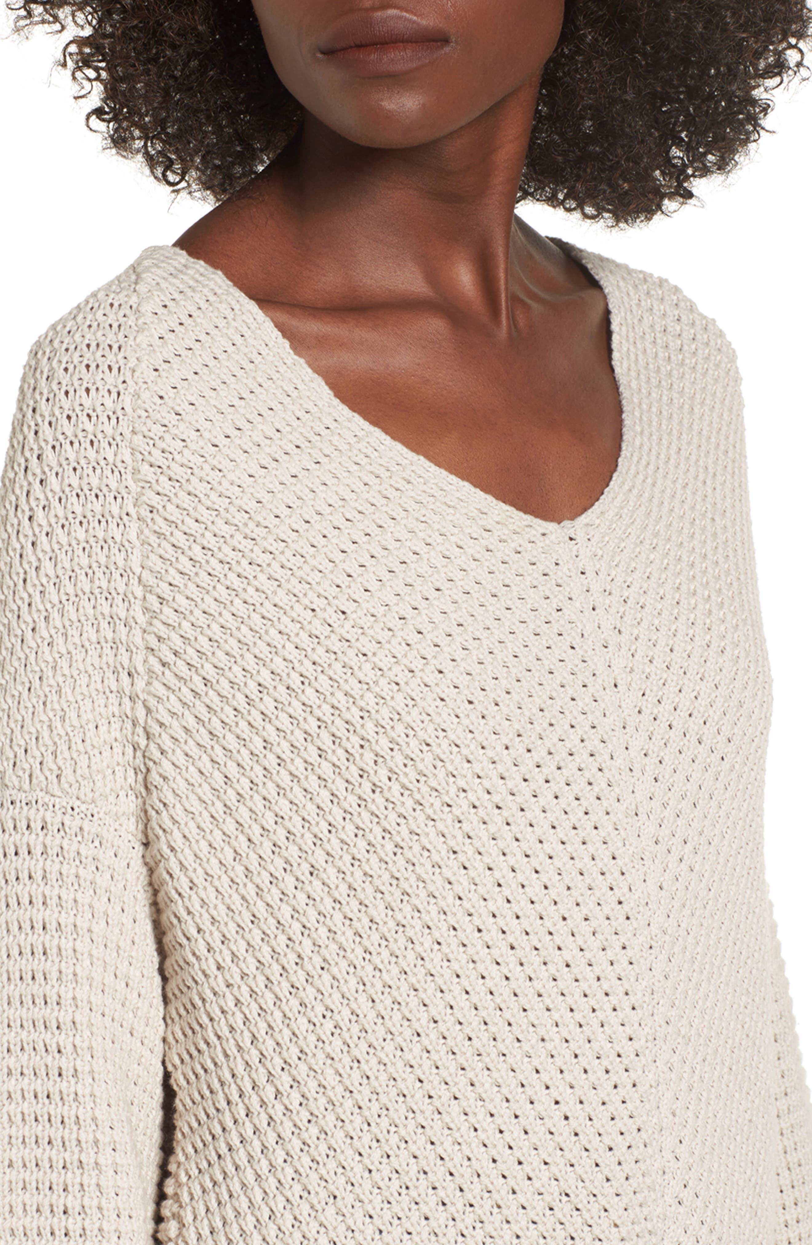 Adelia Bell Sleeve Sweater,                             Alternate thumbnail 4, color,                             Creme