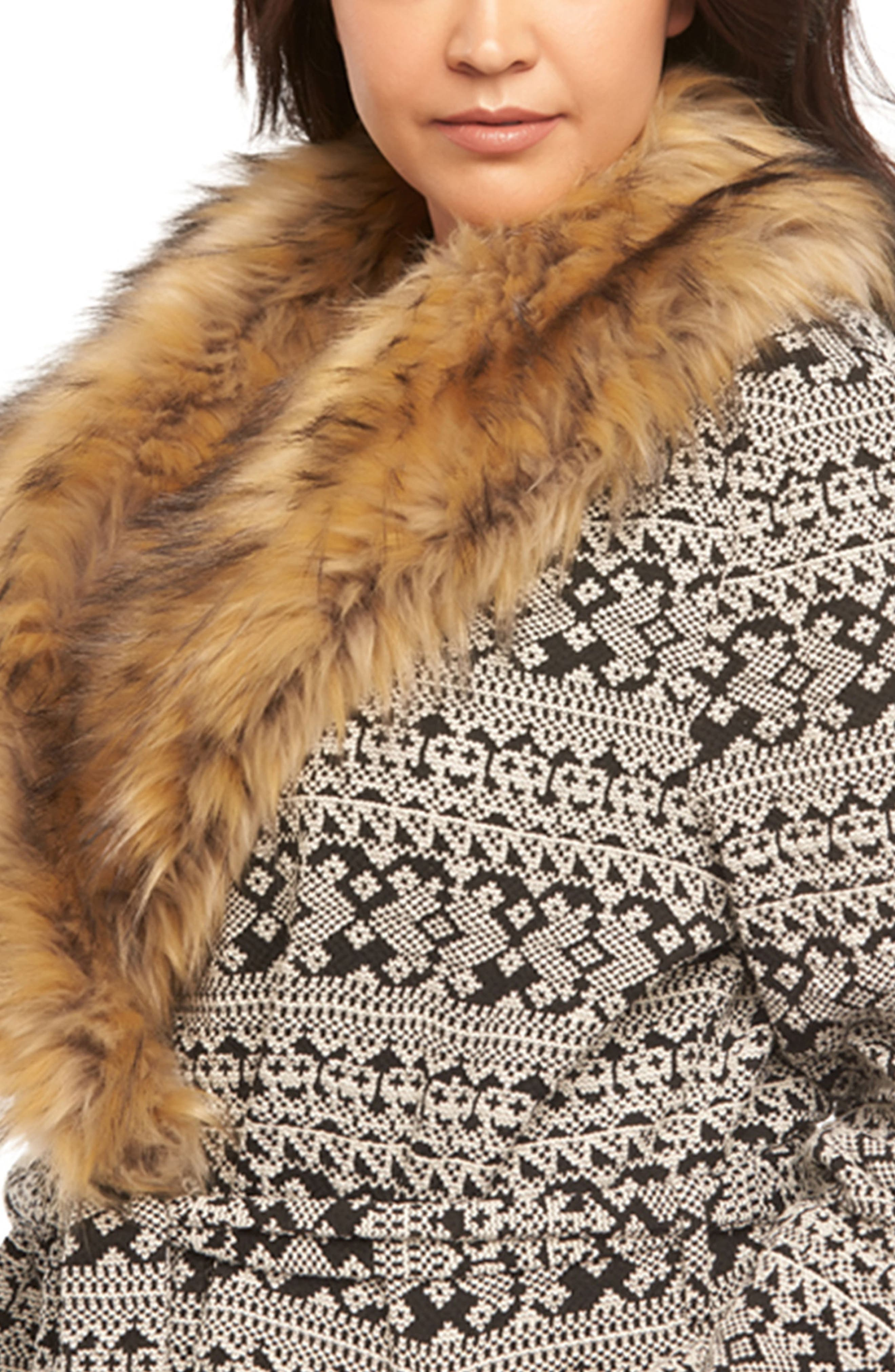 Rachelle Faux Fur Collar Coat,                             Alternate thumbnail 4, color,                             Cream/ Back Textured Diamonds