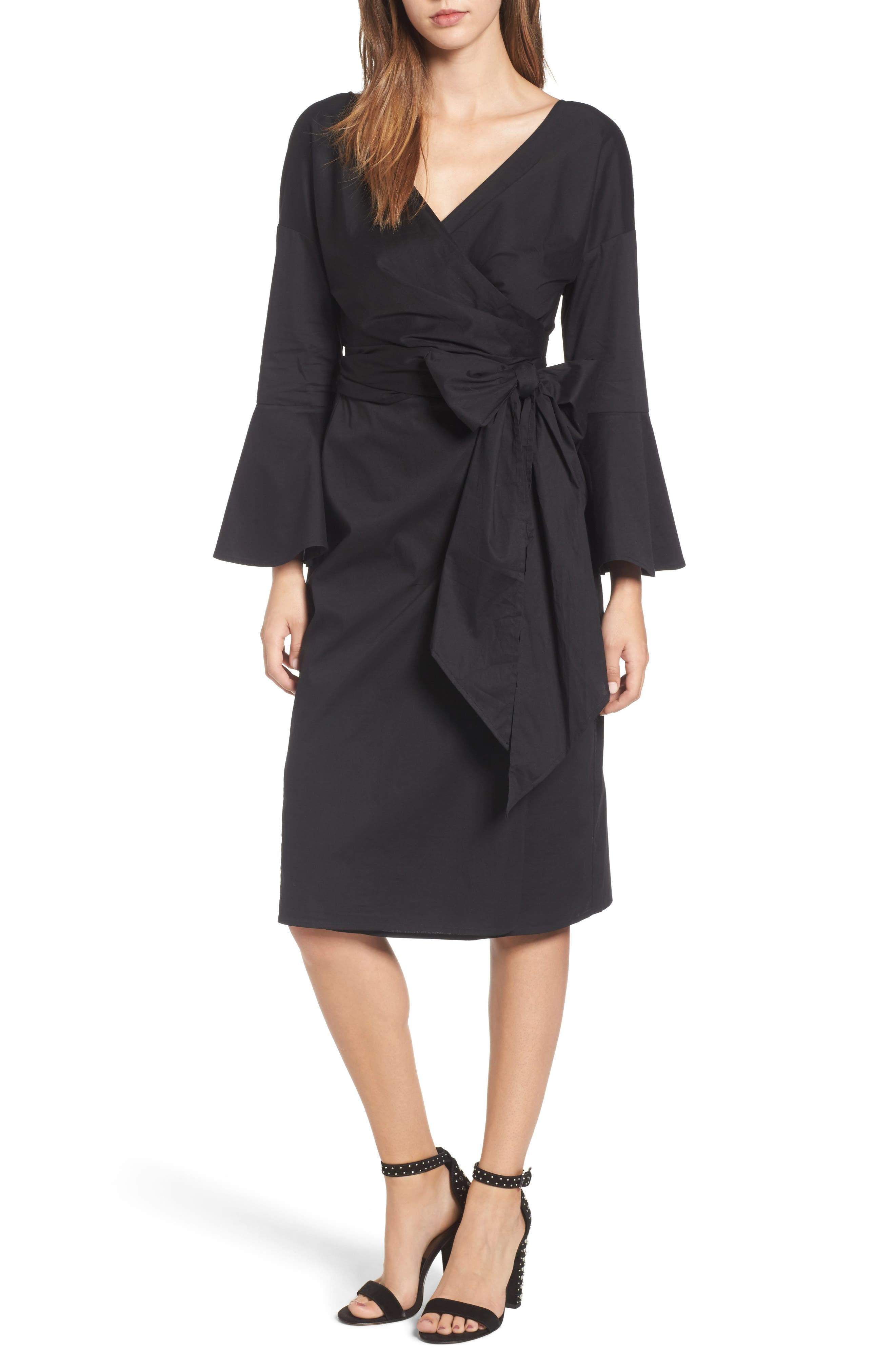Wrap Bell Sleeve Dress,                         Main,                         color, Black