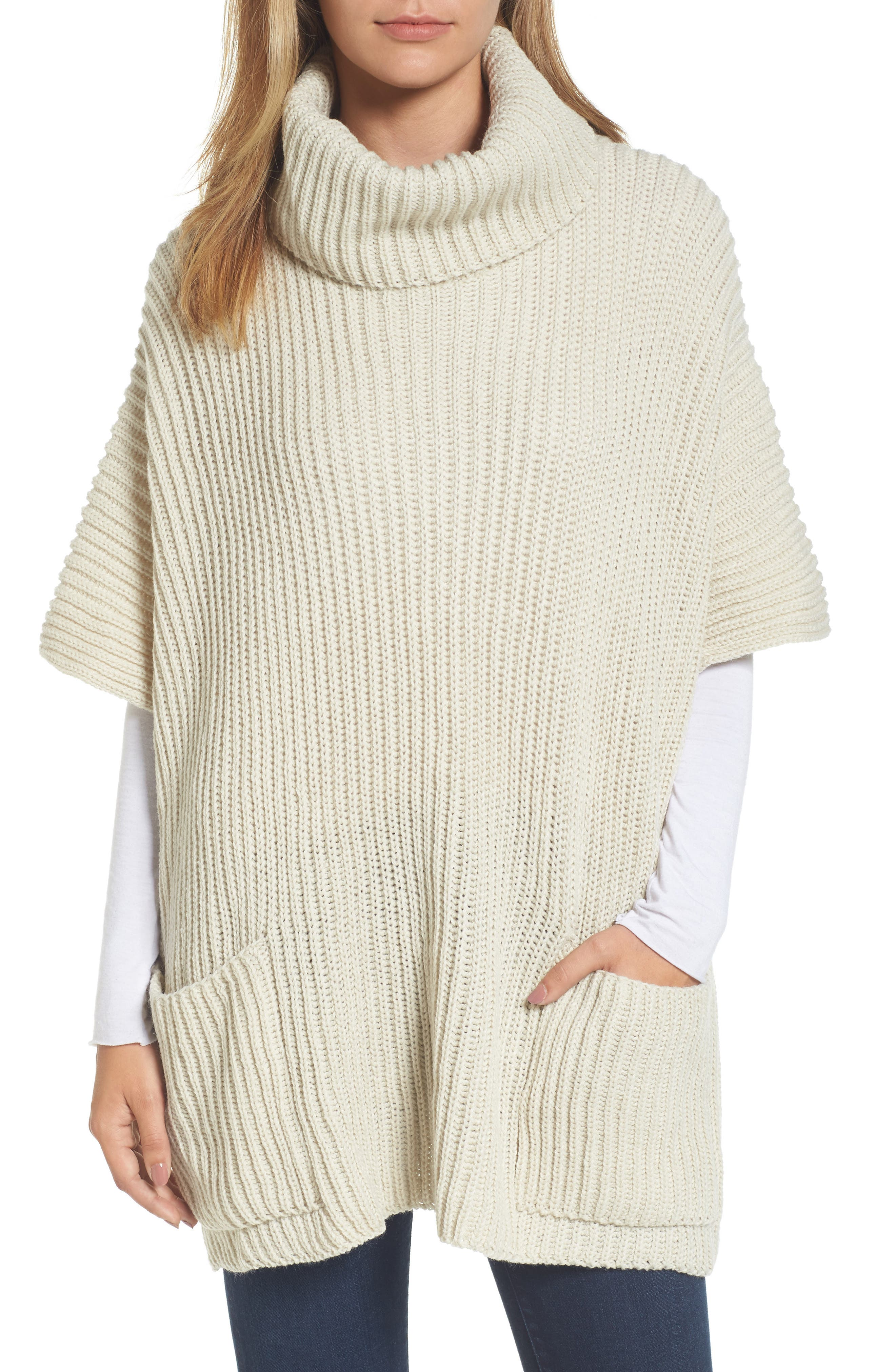 Cowl Neck Poncho,                             Main thumbnail 1, color,                             Ivory