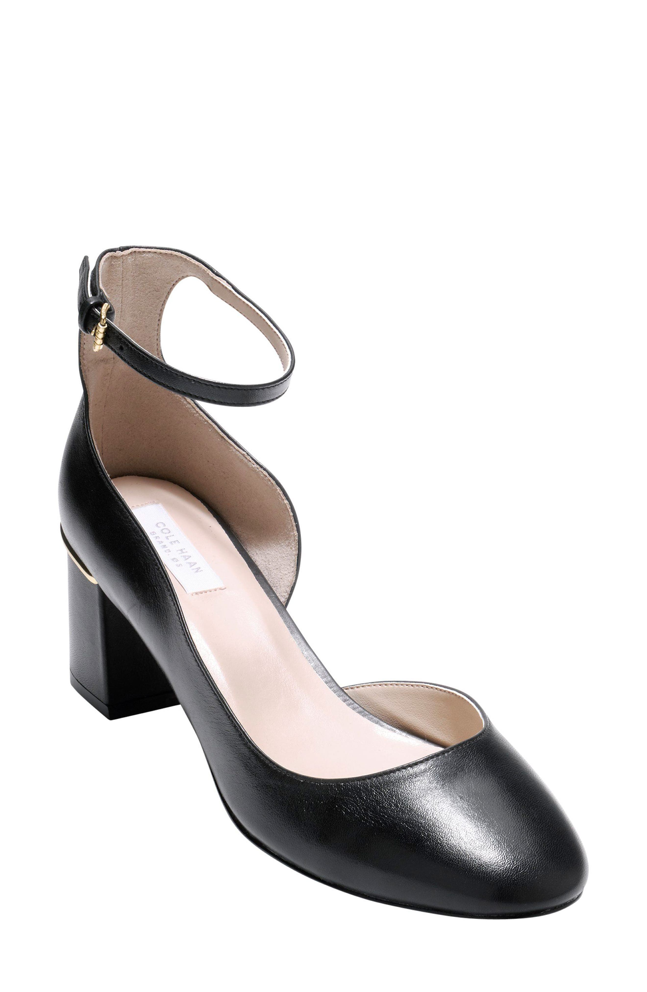 Warner Ankle Strap Pump,                             Main thumbnail 1, color,                             Black Leather