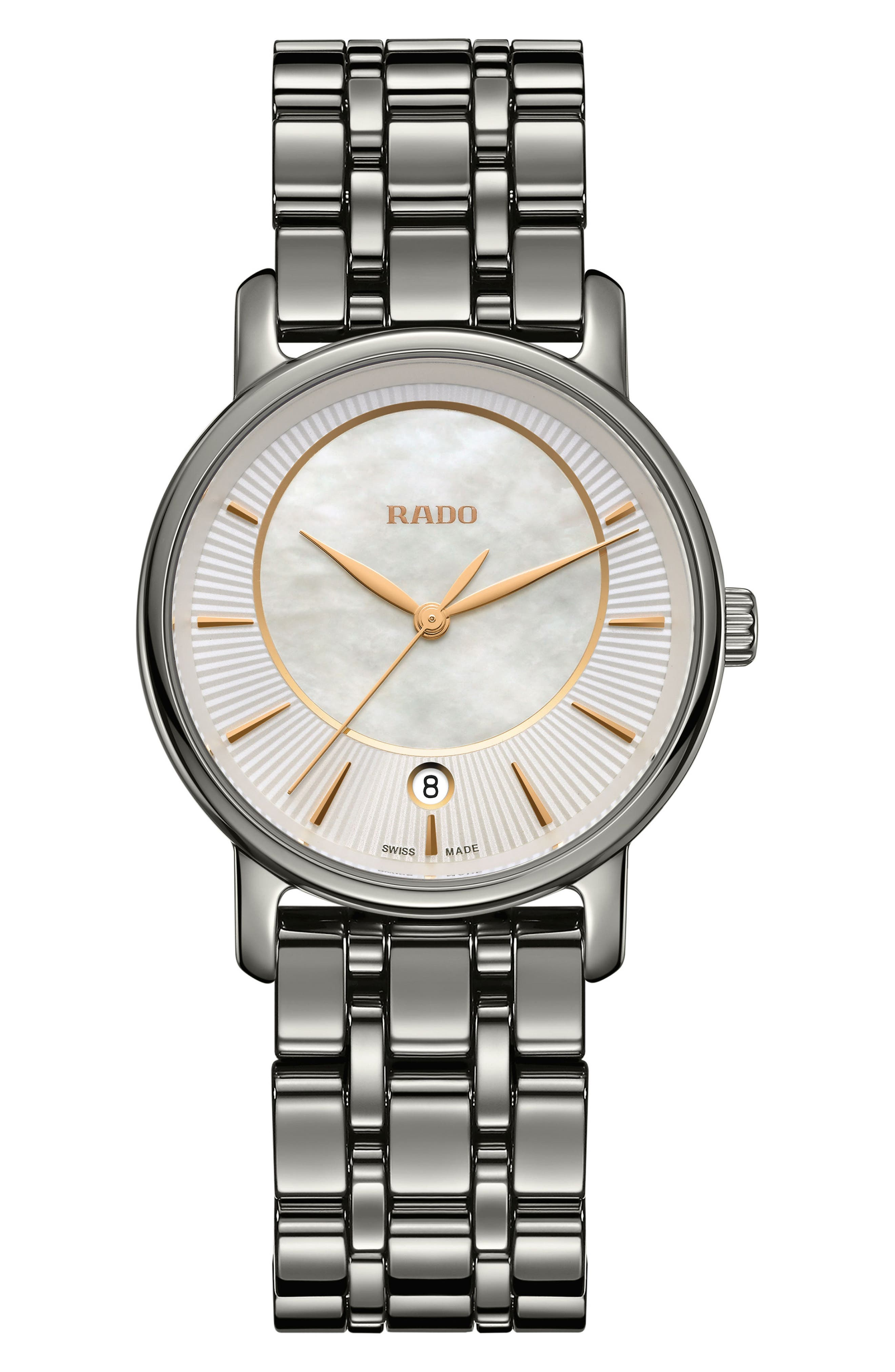 DiaMaster Bracelet Watch, 33mm,                             Main thumbnail 1, color,                             Titanium/ Mop/ Titanium