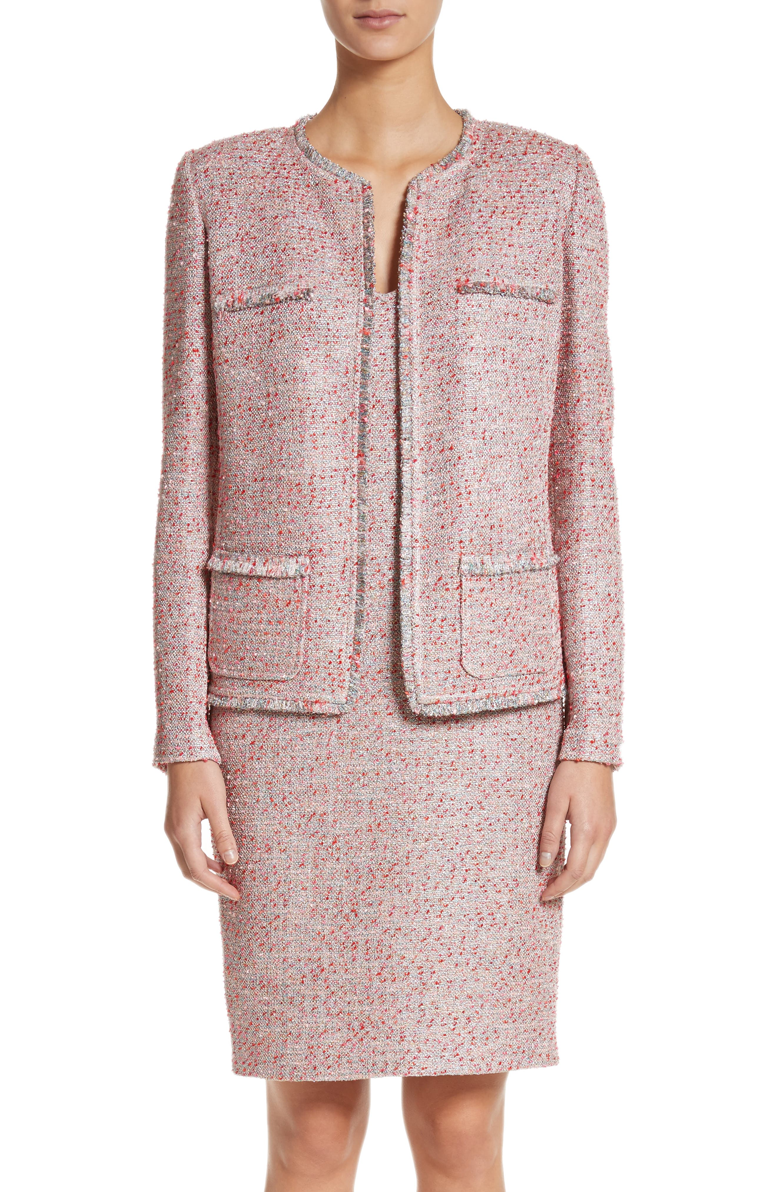Metallic Tweed Jacket,                             Main thumbnail 1, color,                             Rosa Multi