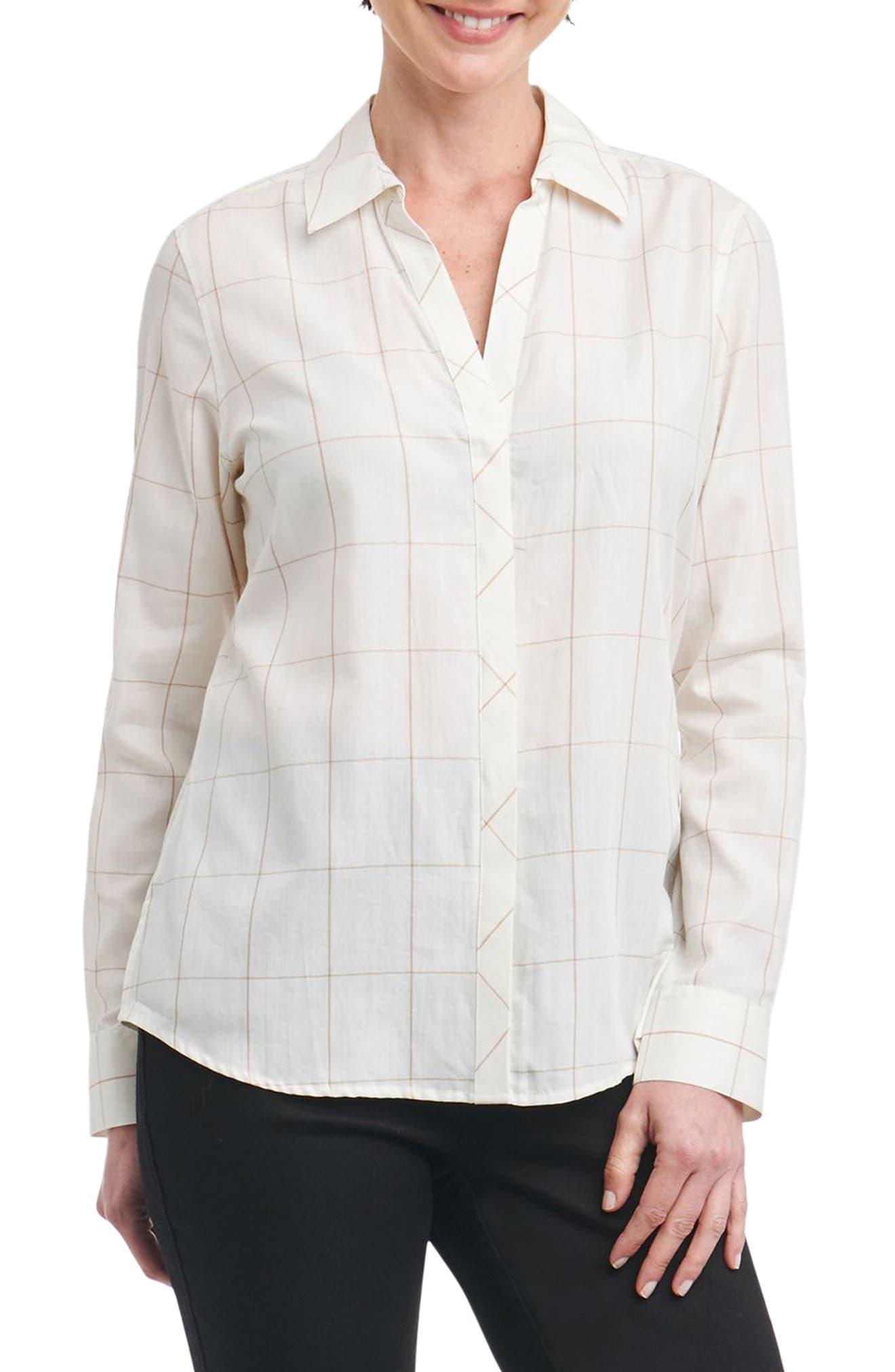 Nicole Windowpane Print Shirt,                             Main thumbnail 1, color,                             Ivory