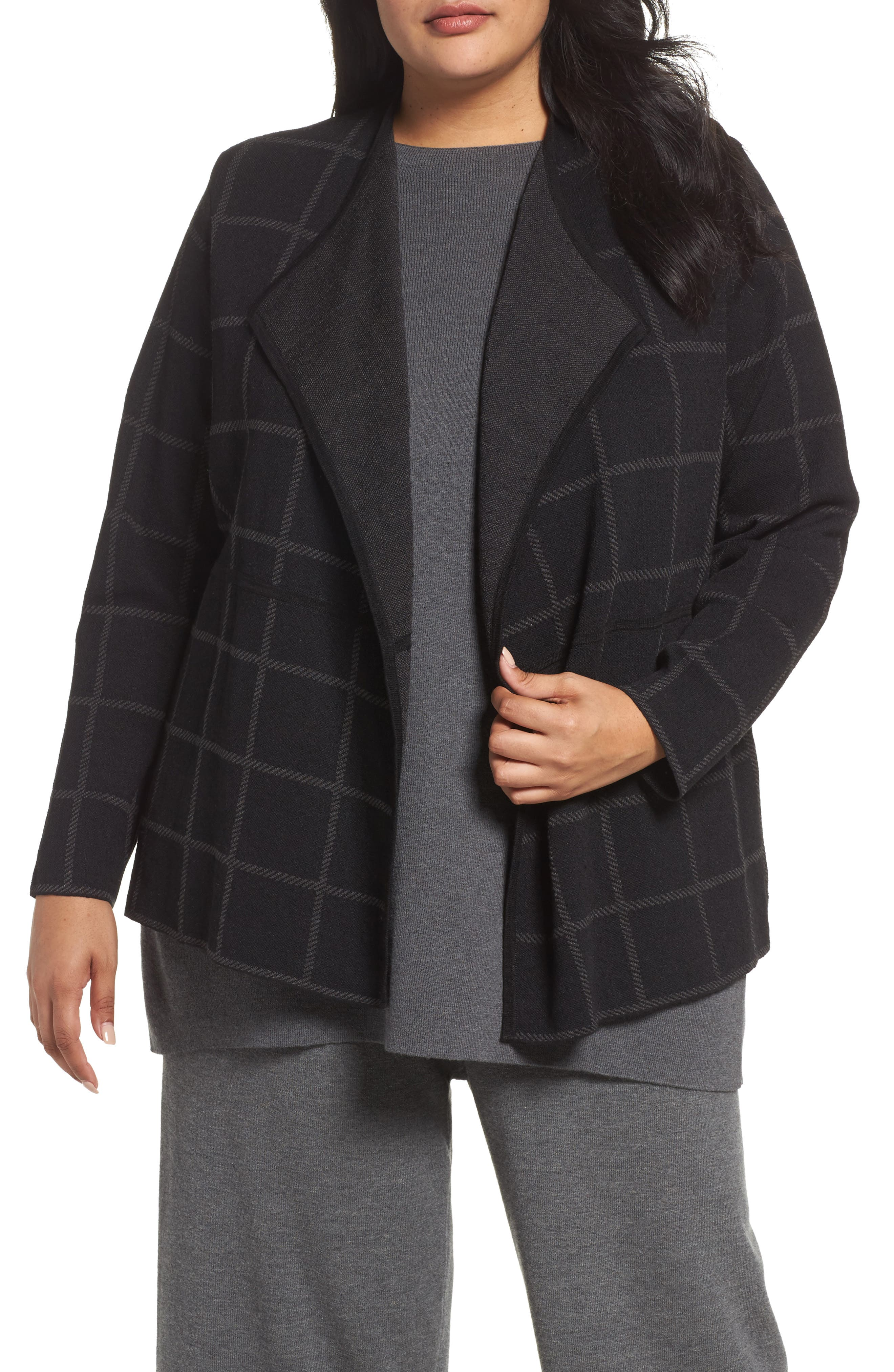 Angle Front Cardigan,                         Main,                         color, Charcoal/ Black