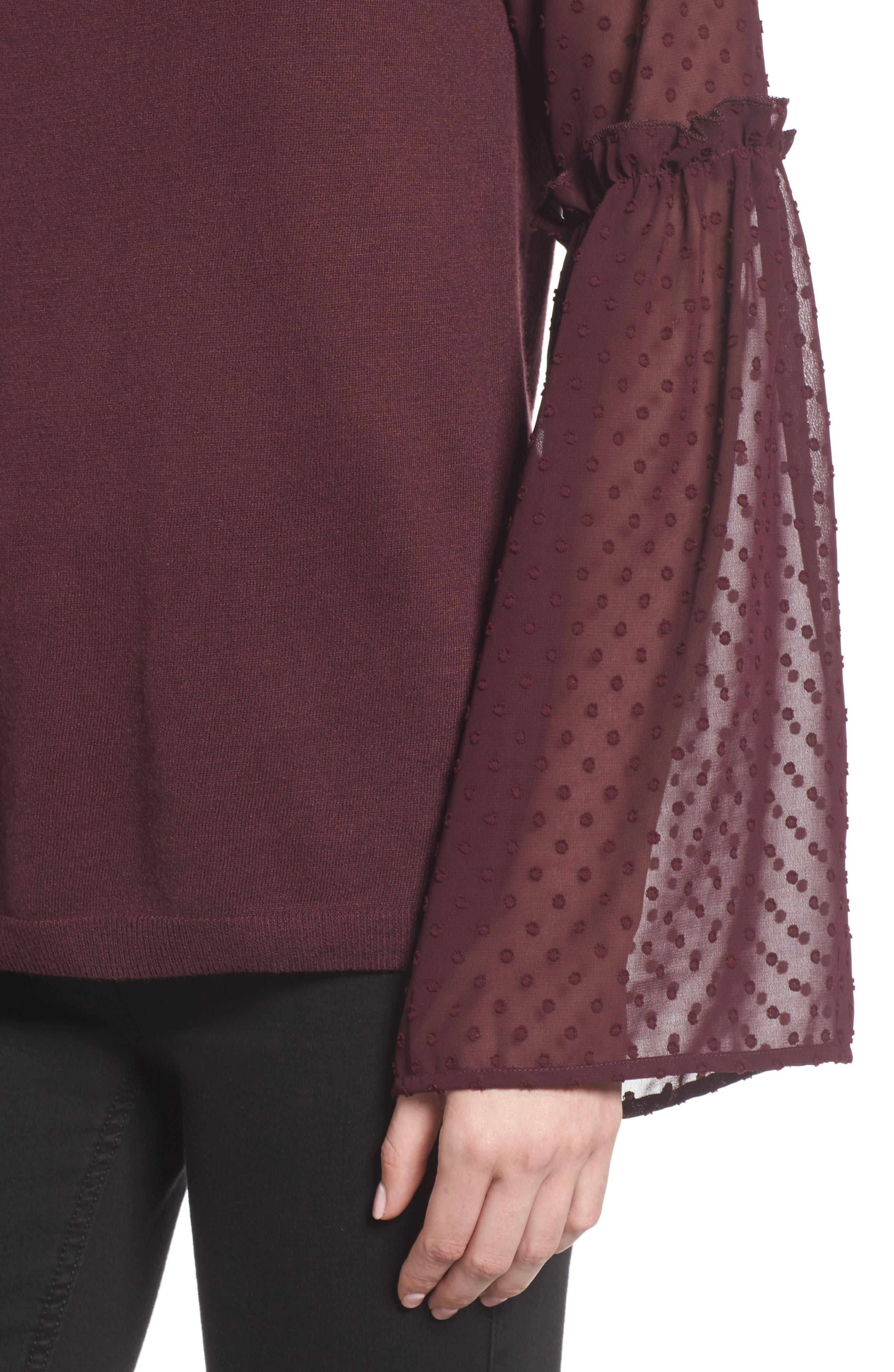 Bell Sleeve Sweater,                             Alternate thumbnail 4, color,                             Burgundy Stem
