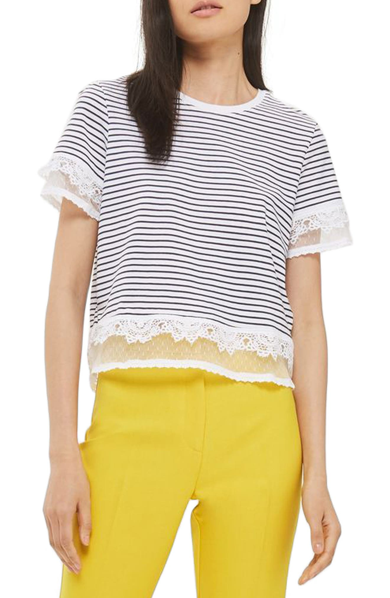 TOPSHOP Lace Trim Stripe Tee