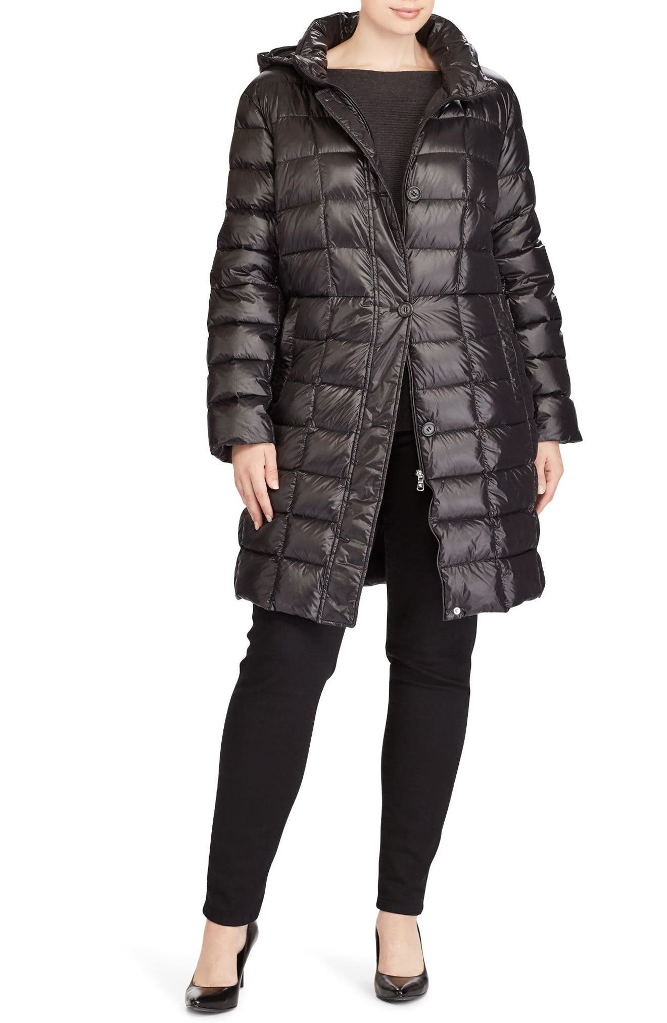 Alternate Image 2  - Lauren Ralph Lauren Quilted Down Coat (Plus Size)