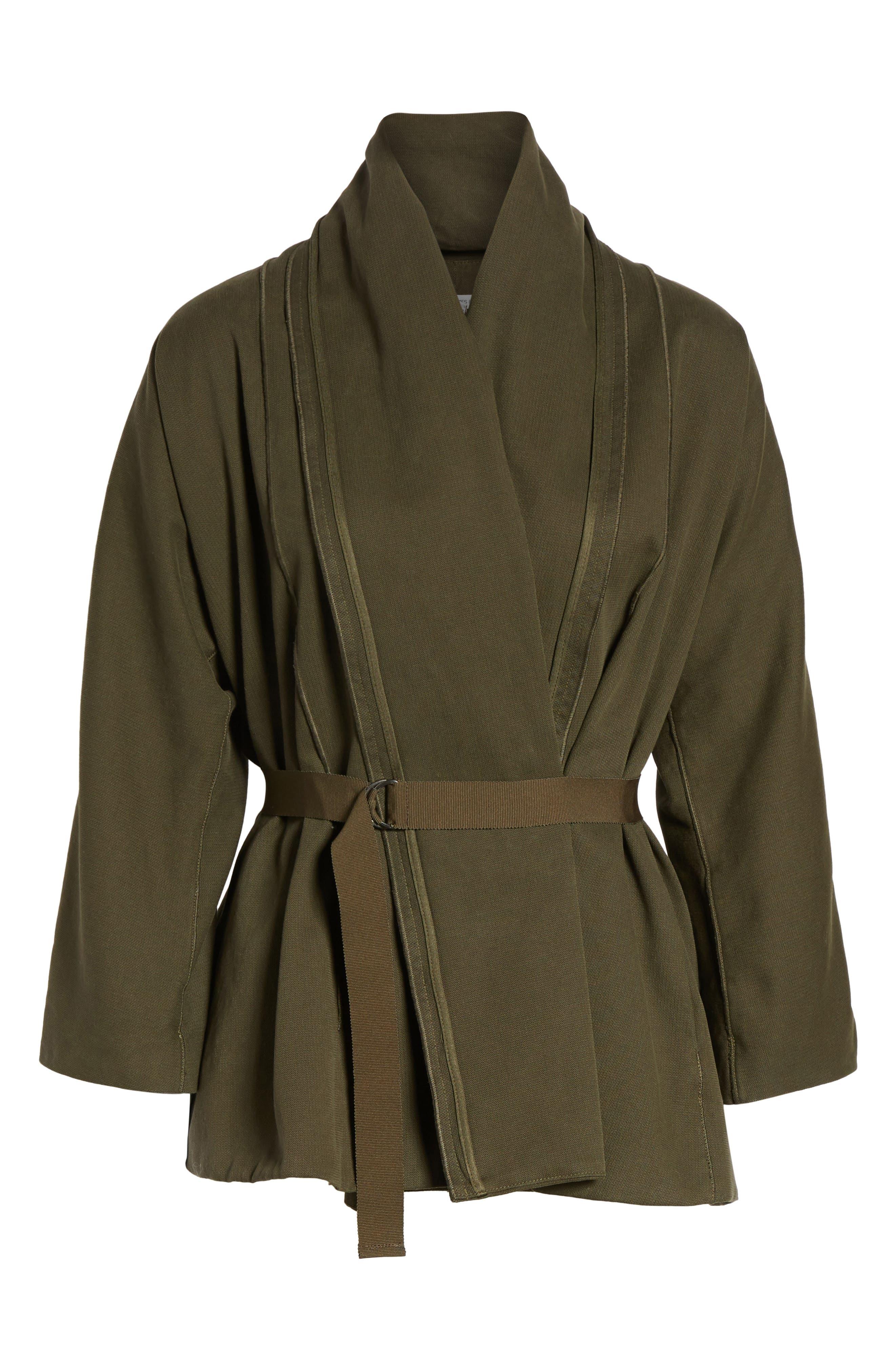 Blanket Kimono Jacket,                             Alternate thumbnail 5, color,                             Smoky Green