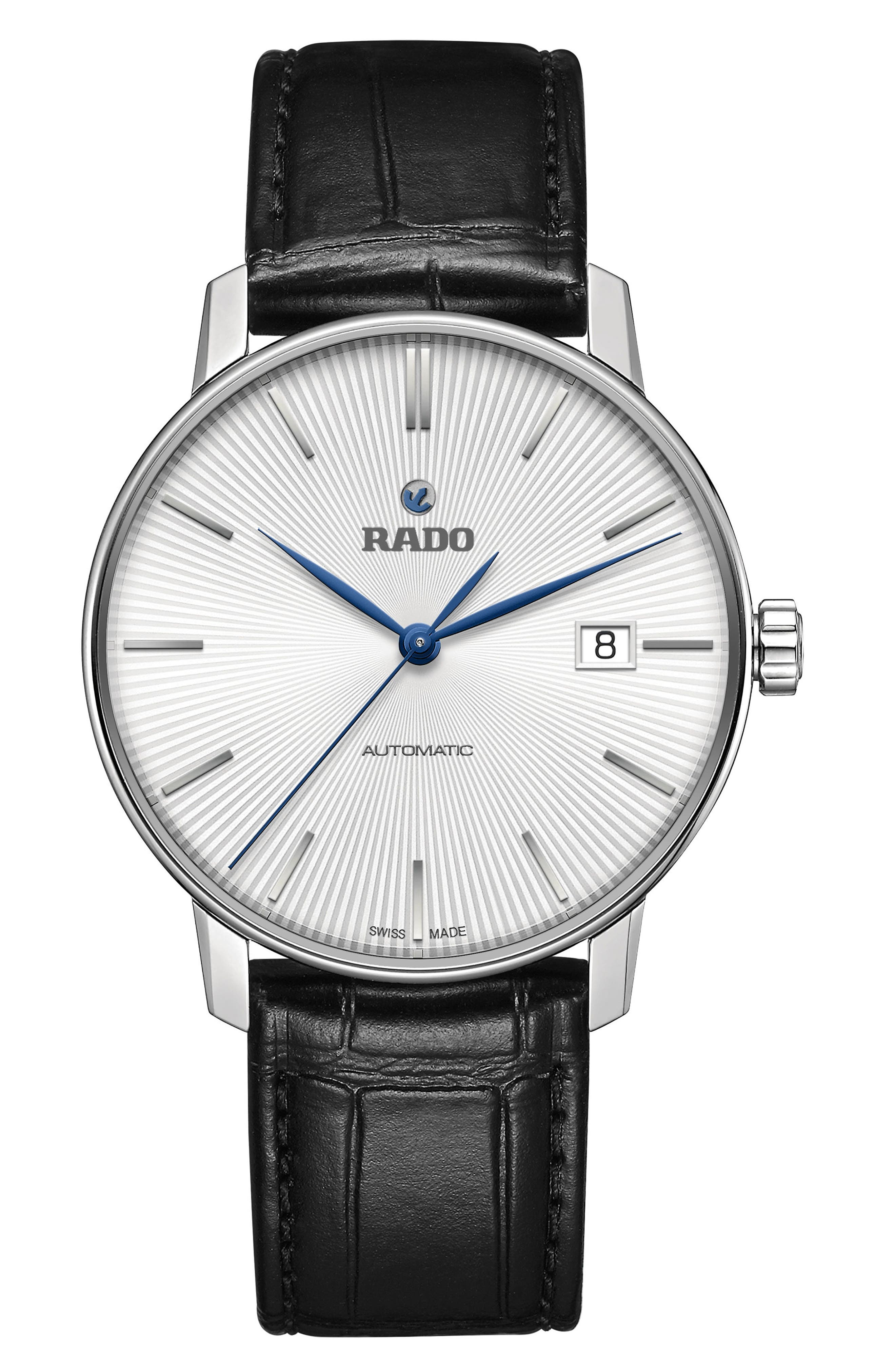 Alternate Image 1 Selected - RADO Coupole Classic Automatic Leather Strap Watch, 37.7mm