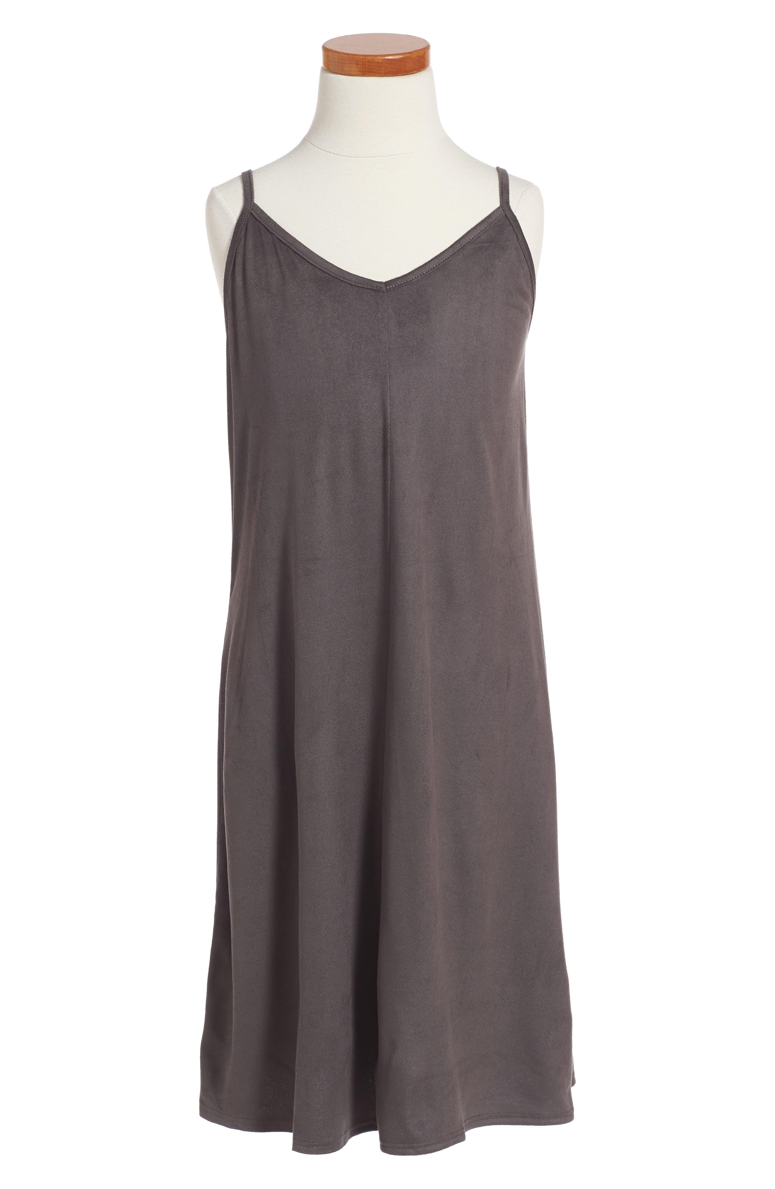 Faux Suede Slipdress,                         Main,                         color, Grey