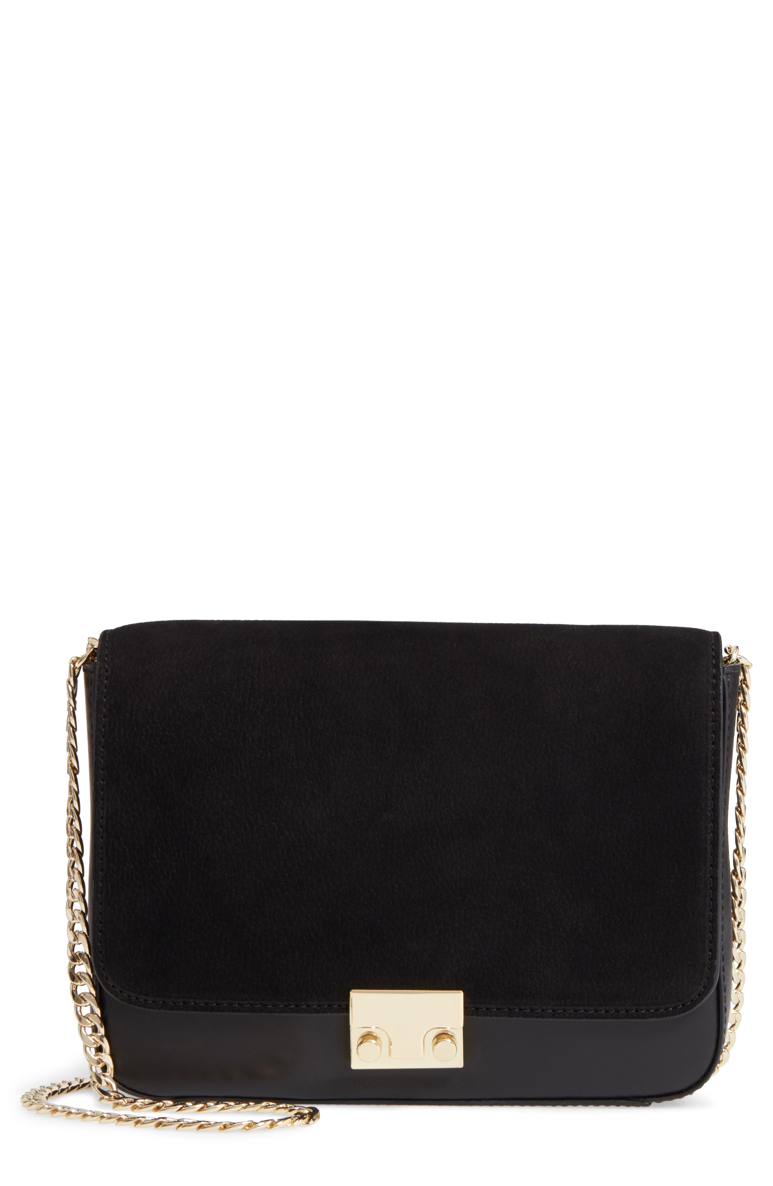 Lock Shoulder Bag,                         Main,                         color, Black