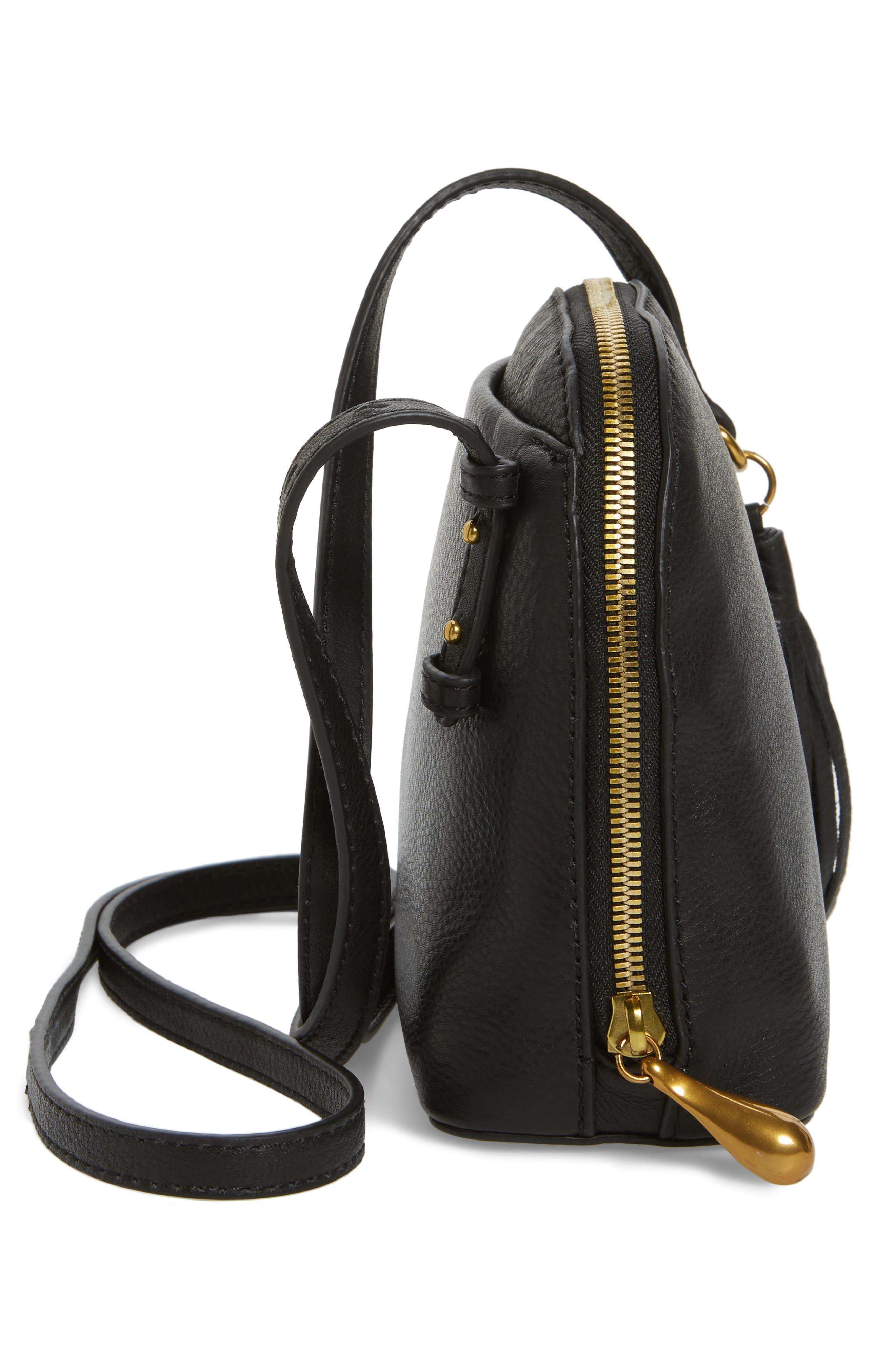 Nash Calfskin Leather Crossbody Bag,                             Alternate thumbnail 5, color,                             Black