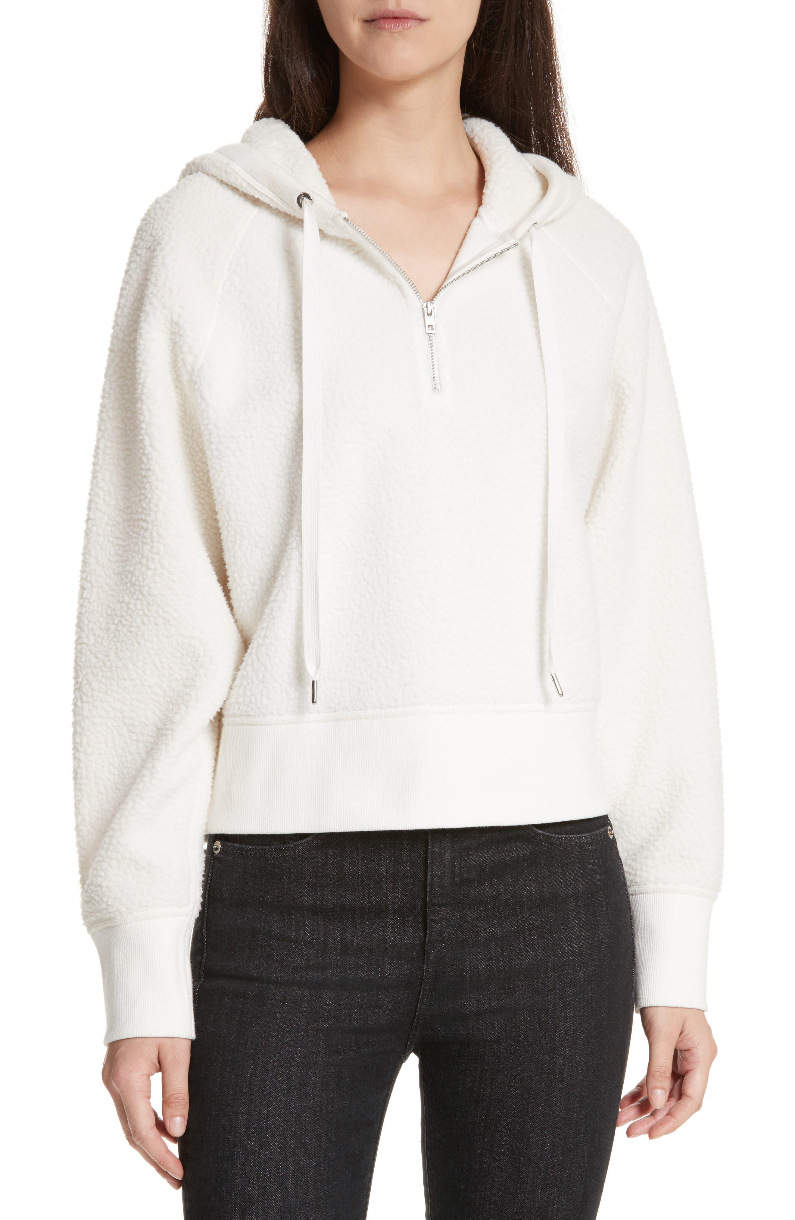Fleece Hoodie Pullover,                         Main,                         color, Eggshell