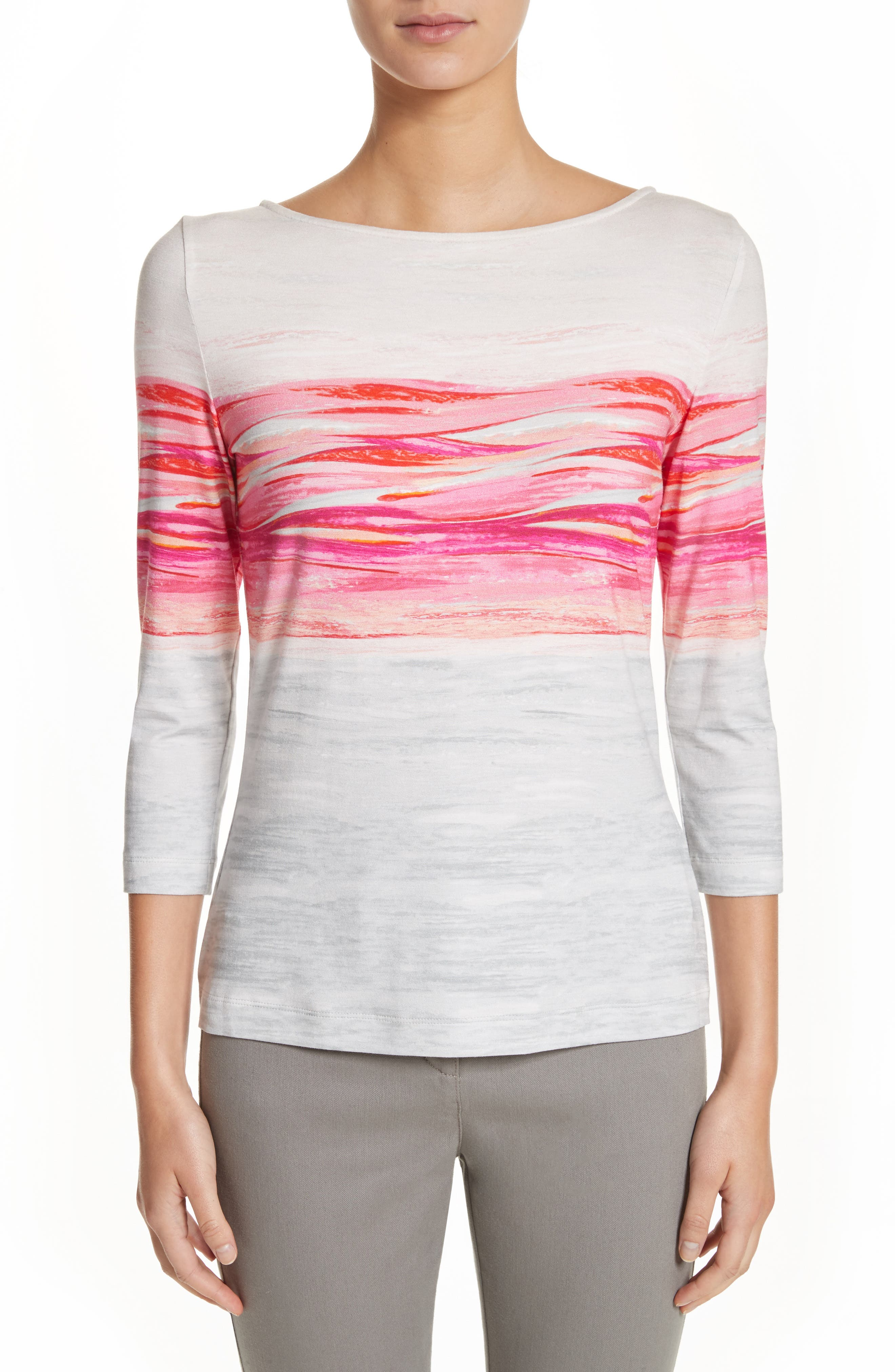 Textured Brushstroke Print Jersey Top,                             Main thumbnail 1, color,                             Bright Coral Multi