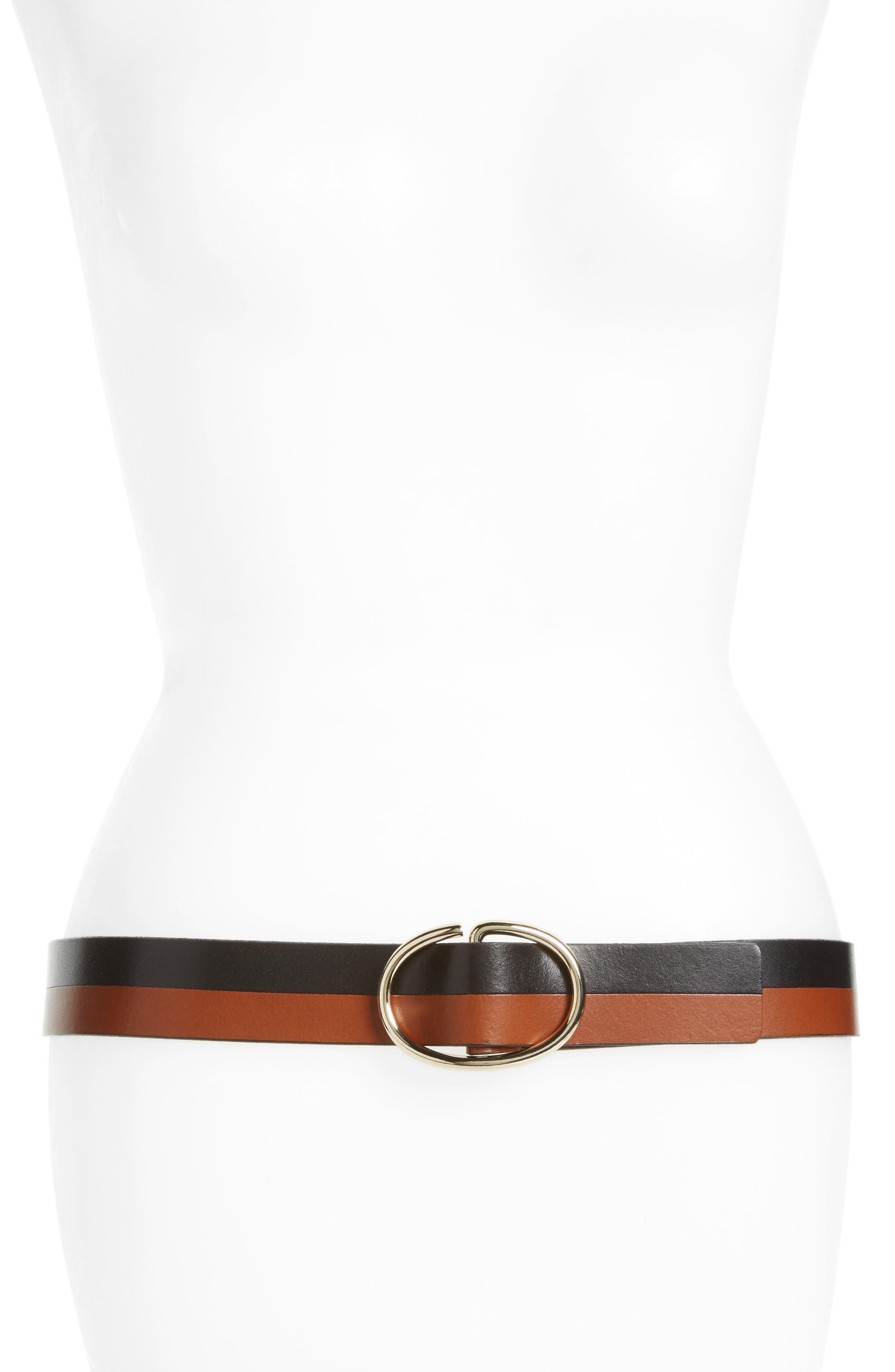 Alternate Image 1 Selected - Halogen® Pieced Leather Belt