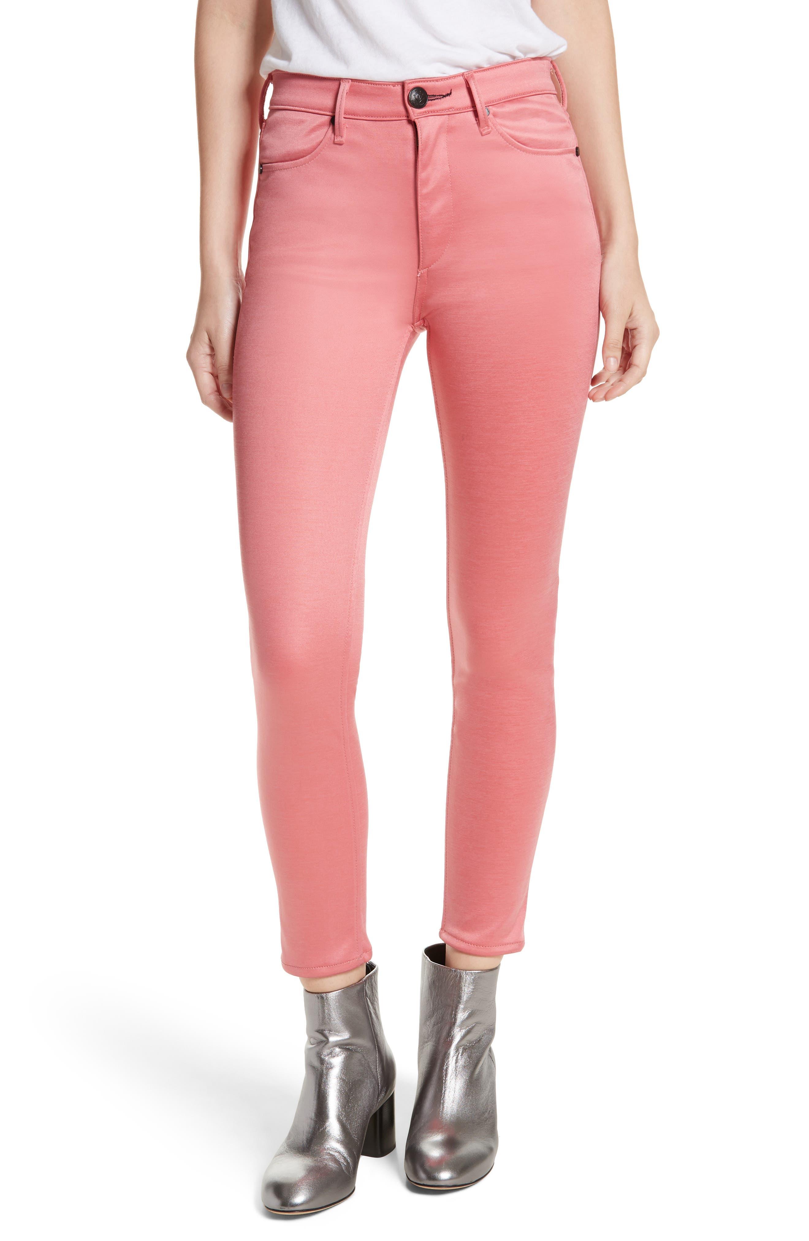 rag & bone/JEAN High Waist Ankle Skinny Jeans (Washed Red)