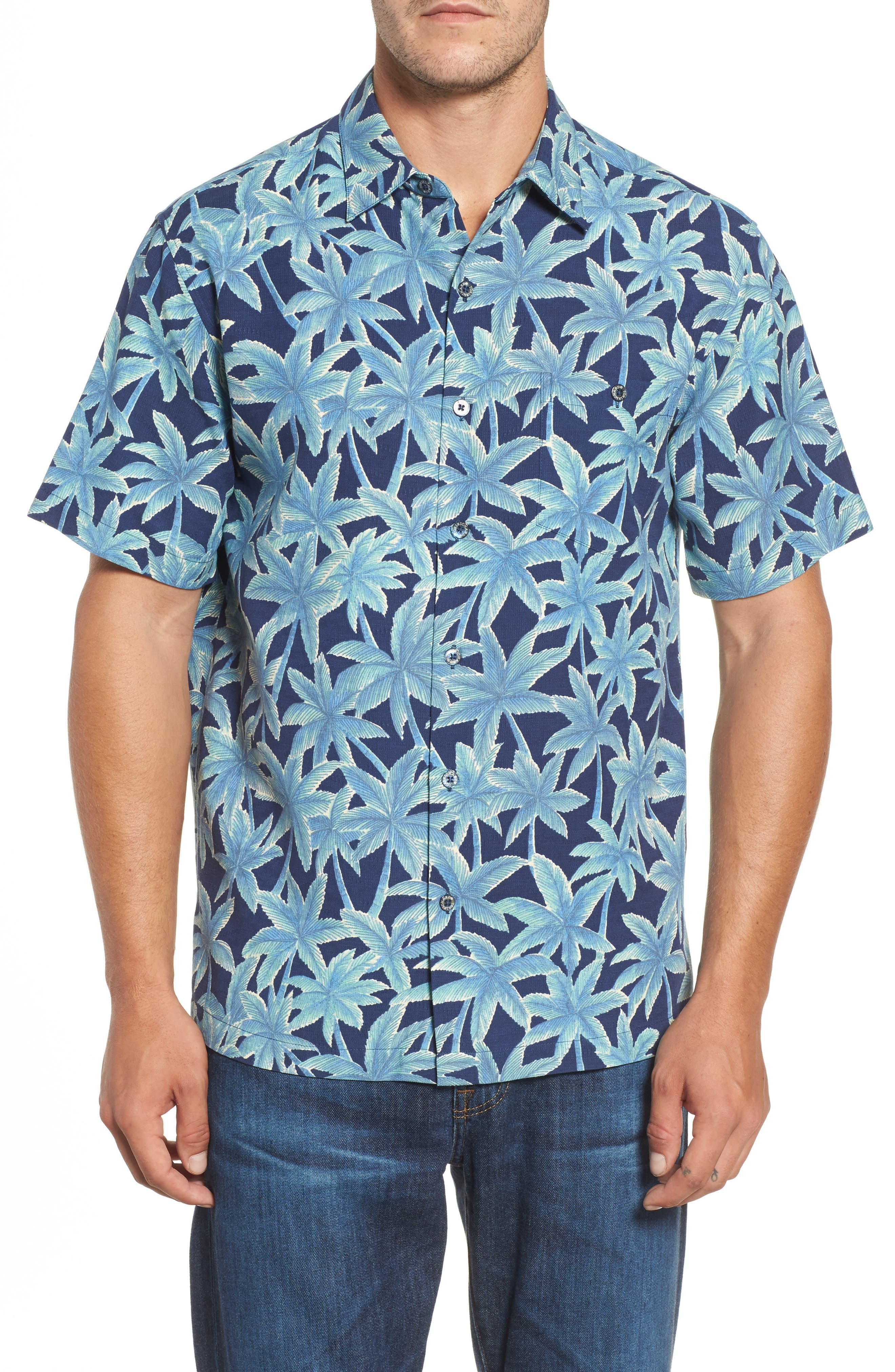 Elementree Classic Fit Silk Blend Camp Shirt,                         Main,                         color, Navy