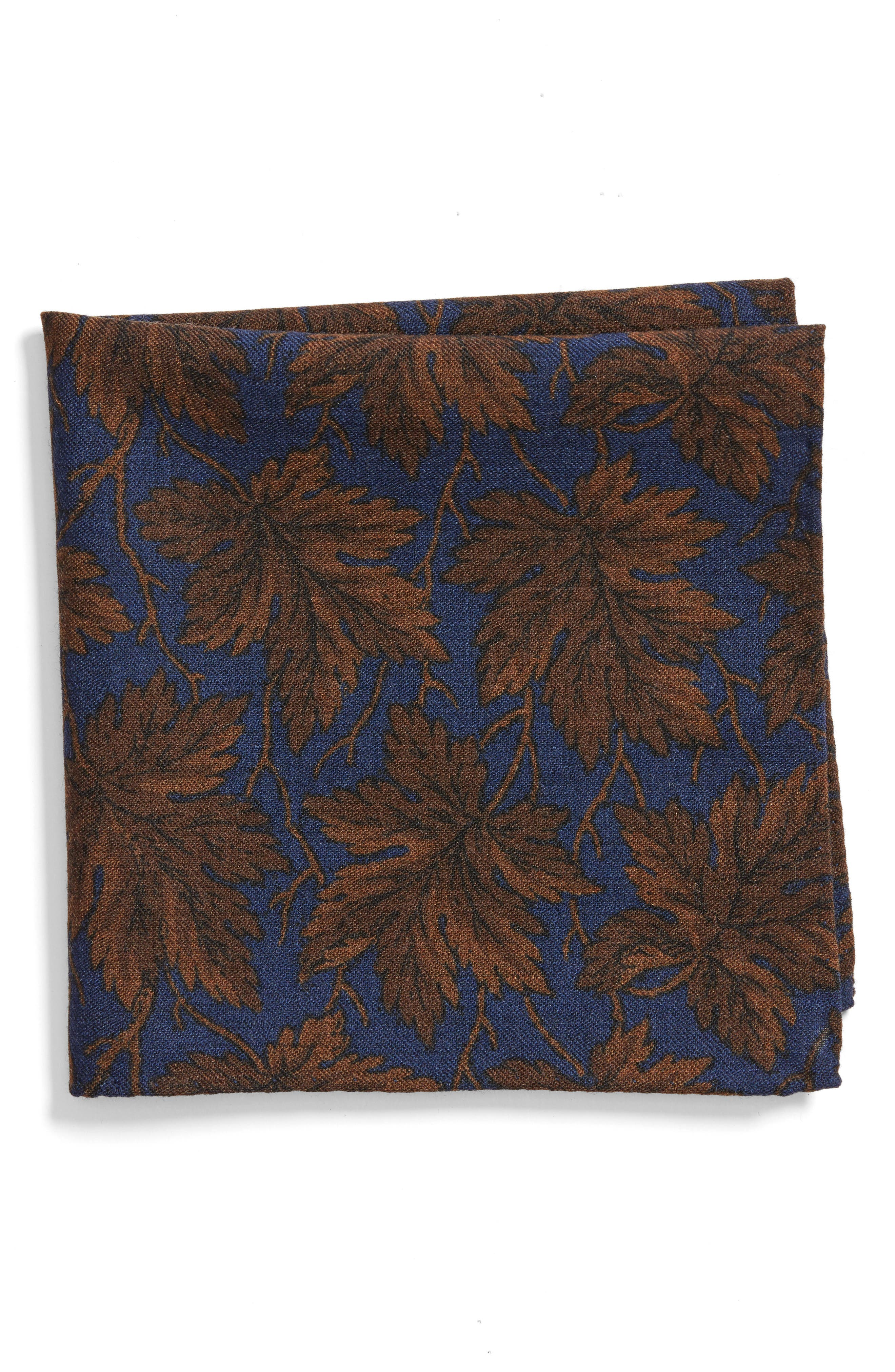 Fall Leaf Wool Pocket Square,                         Main,                         color, Blue
