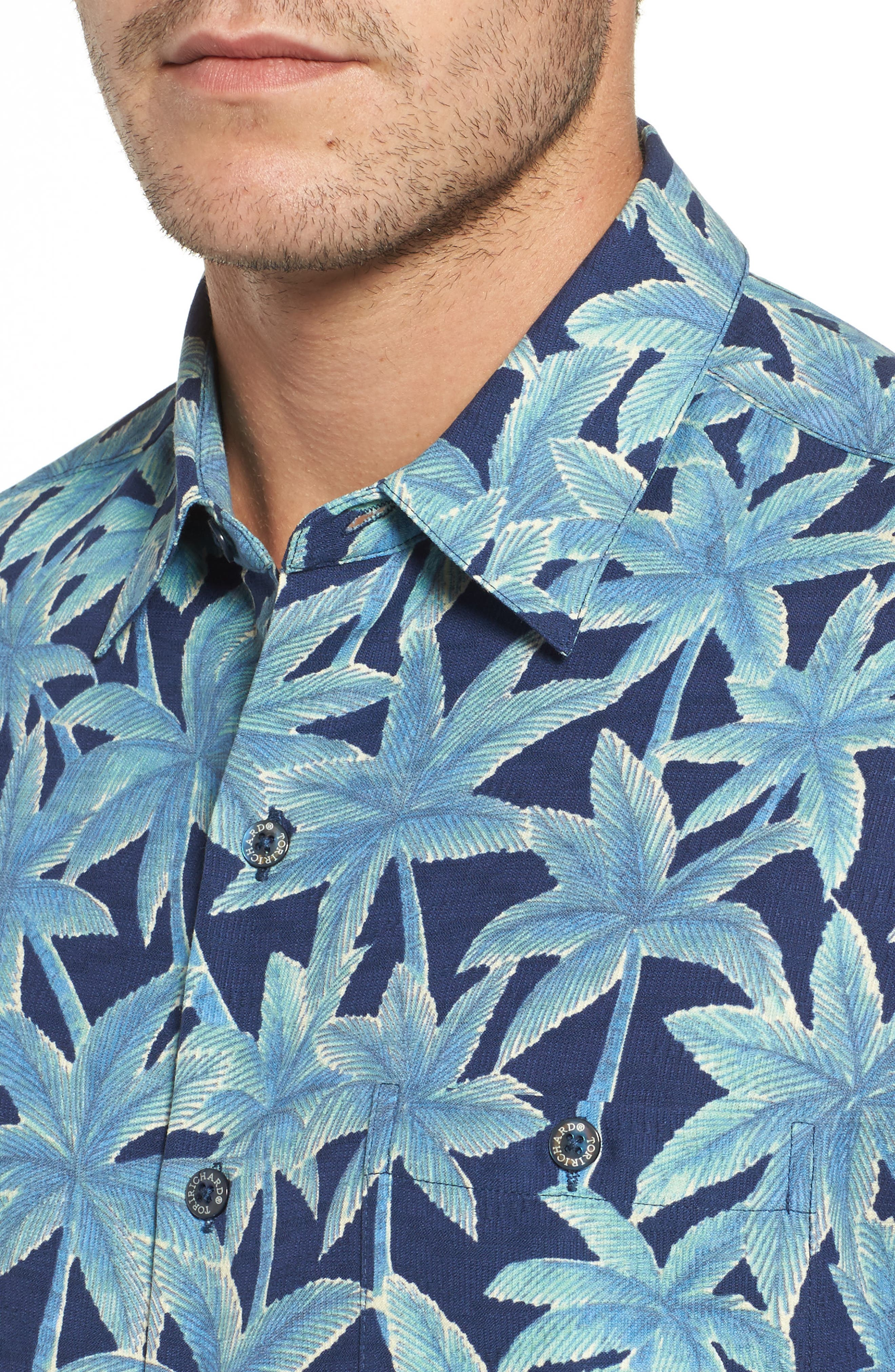 Elementree Classic Fit Silk Blend Camp Shirt,                             Alternate thumbnail 4, color,                             Navy