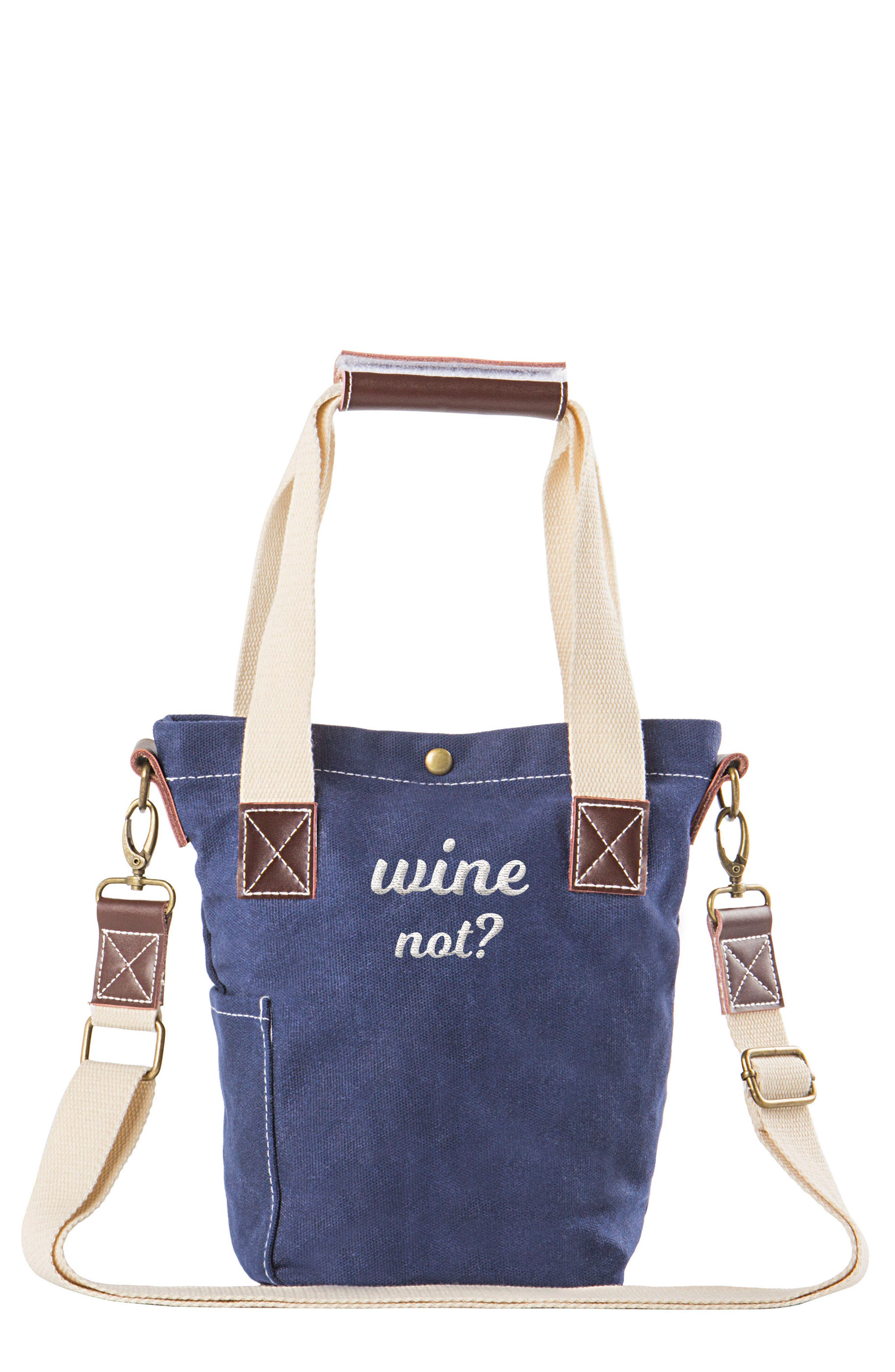 Wine Not? Wine Tote,                         Main,                         color, Blue