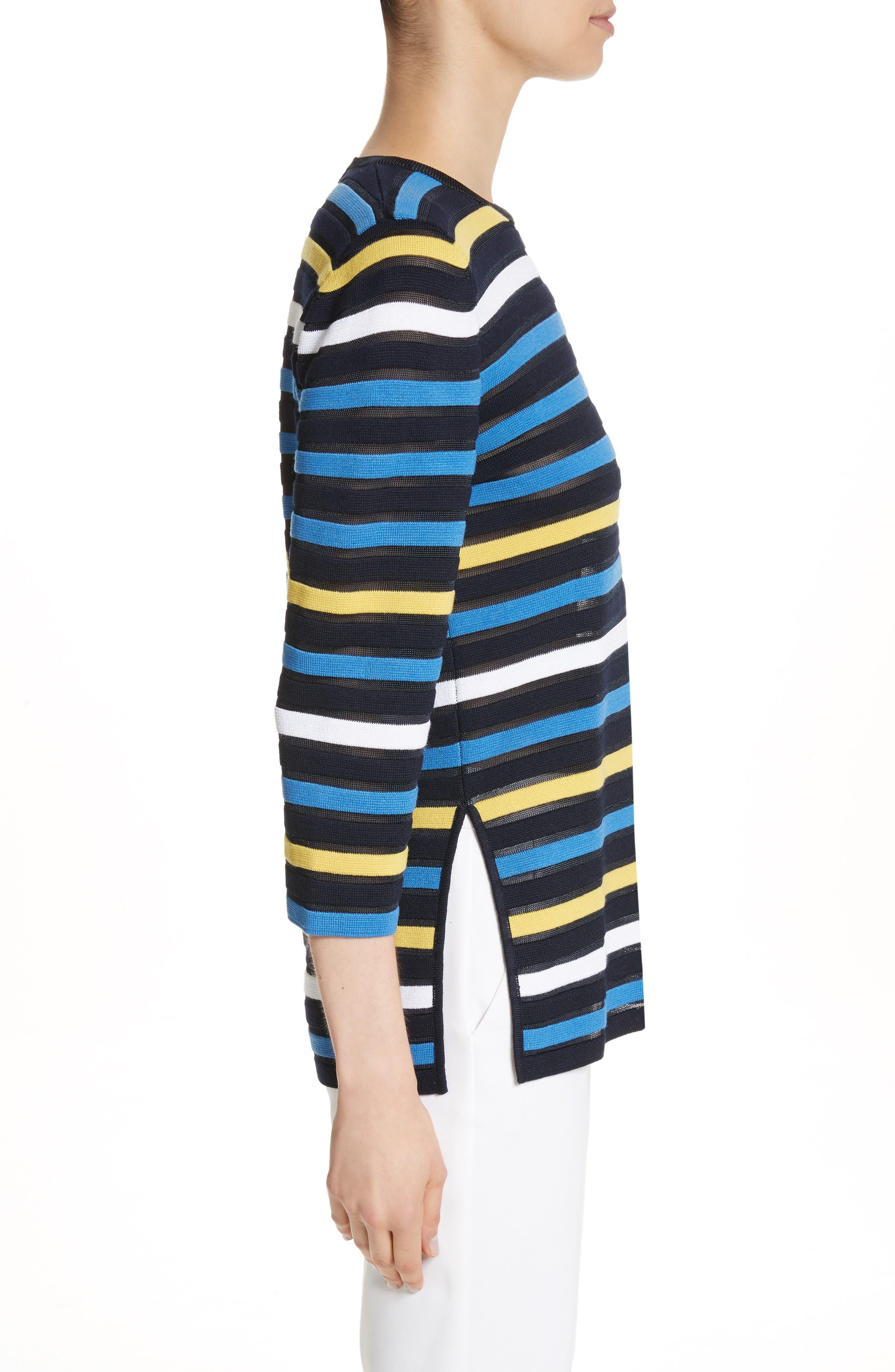 Ombré Stripe Sweater,                             Alternate thumbnail 3, color,                             Navy Multi