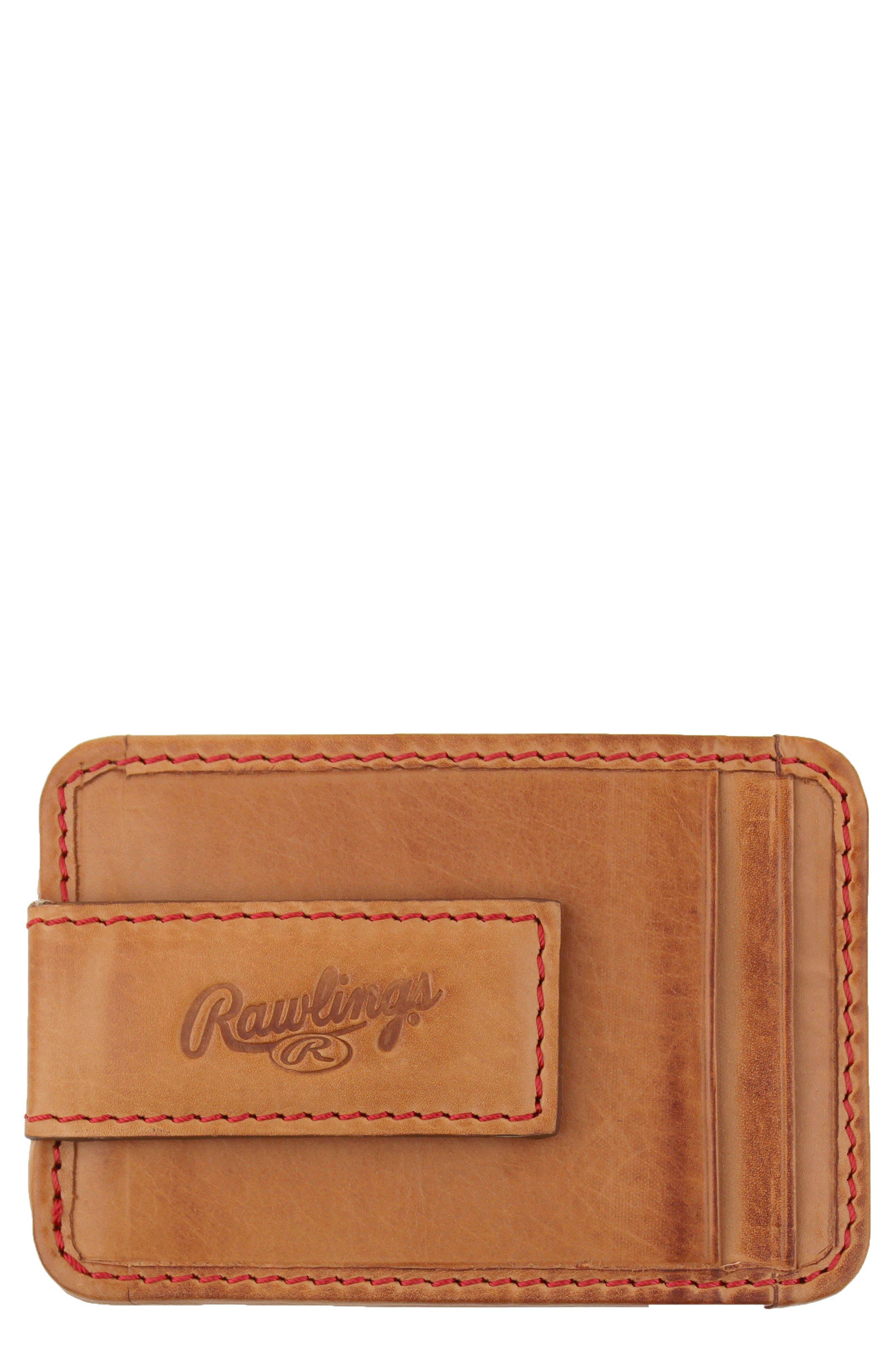 Baseball Stitch Money Clip Card Case,                             Main thumbnail 1, color,                             Tan