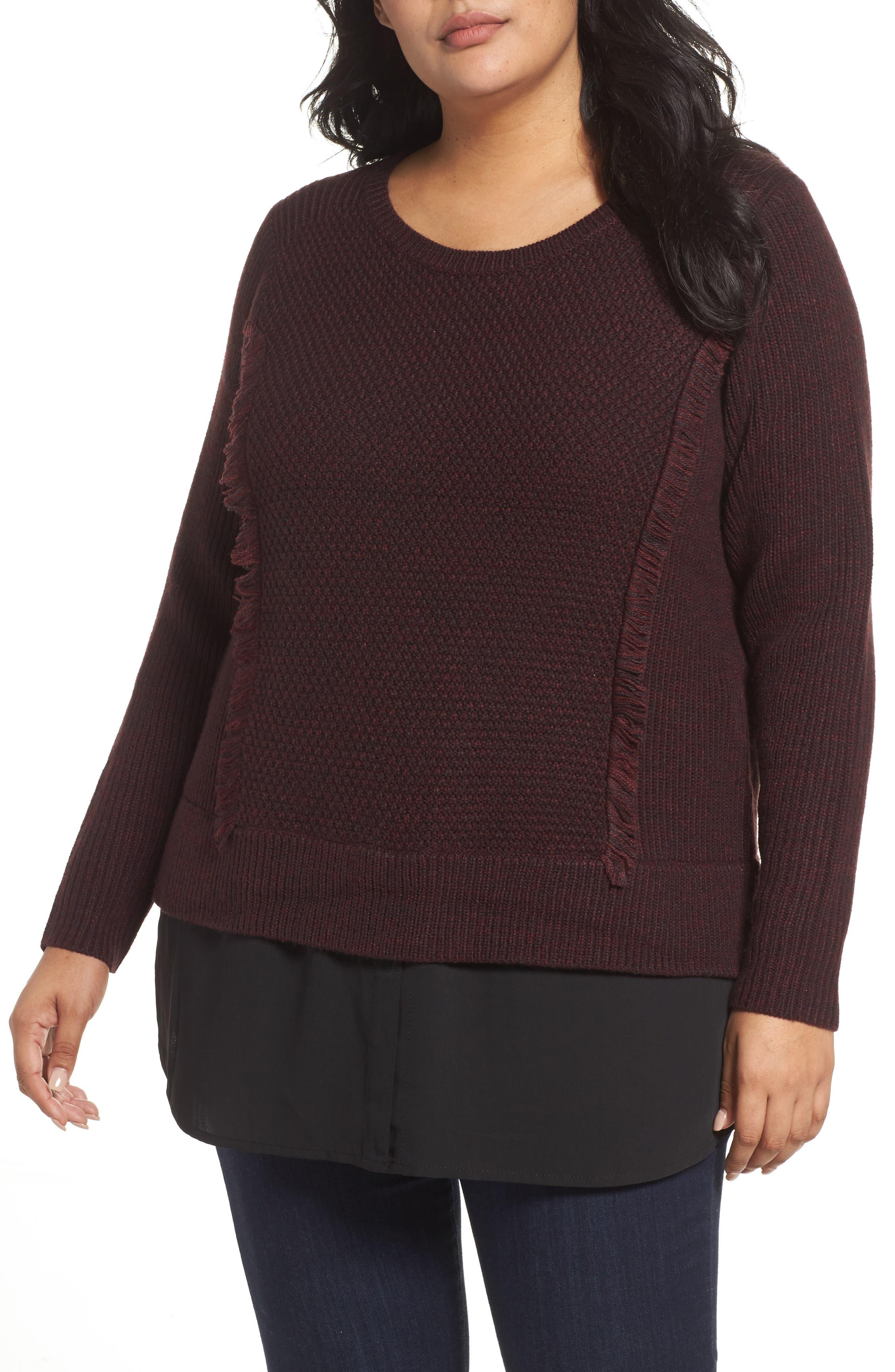 Main Image - Foxcroft Sophia Layered Look Sweater (Plus Size)
