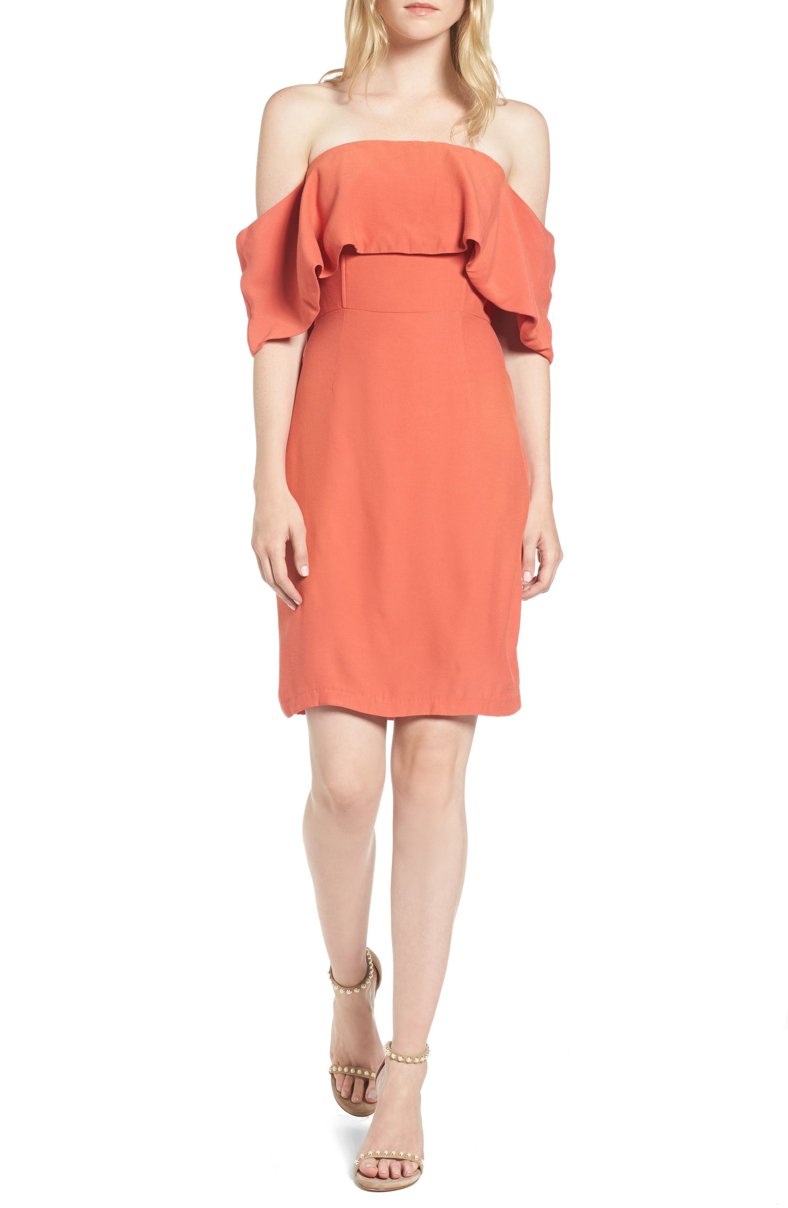 Rudy Off the Shoulder Shift Dress,                             Main thumbnail 1, color,                             Persimmon Red