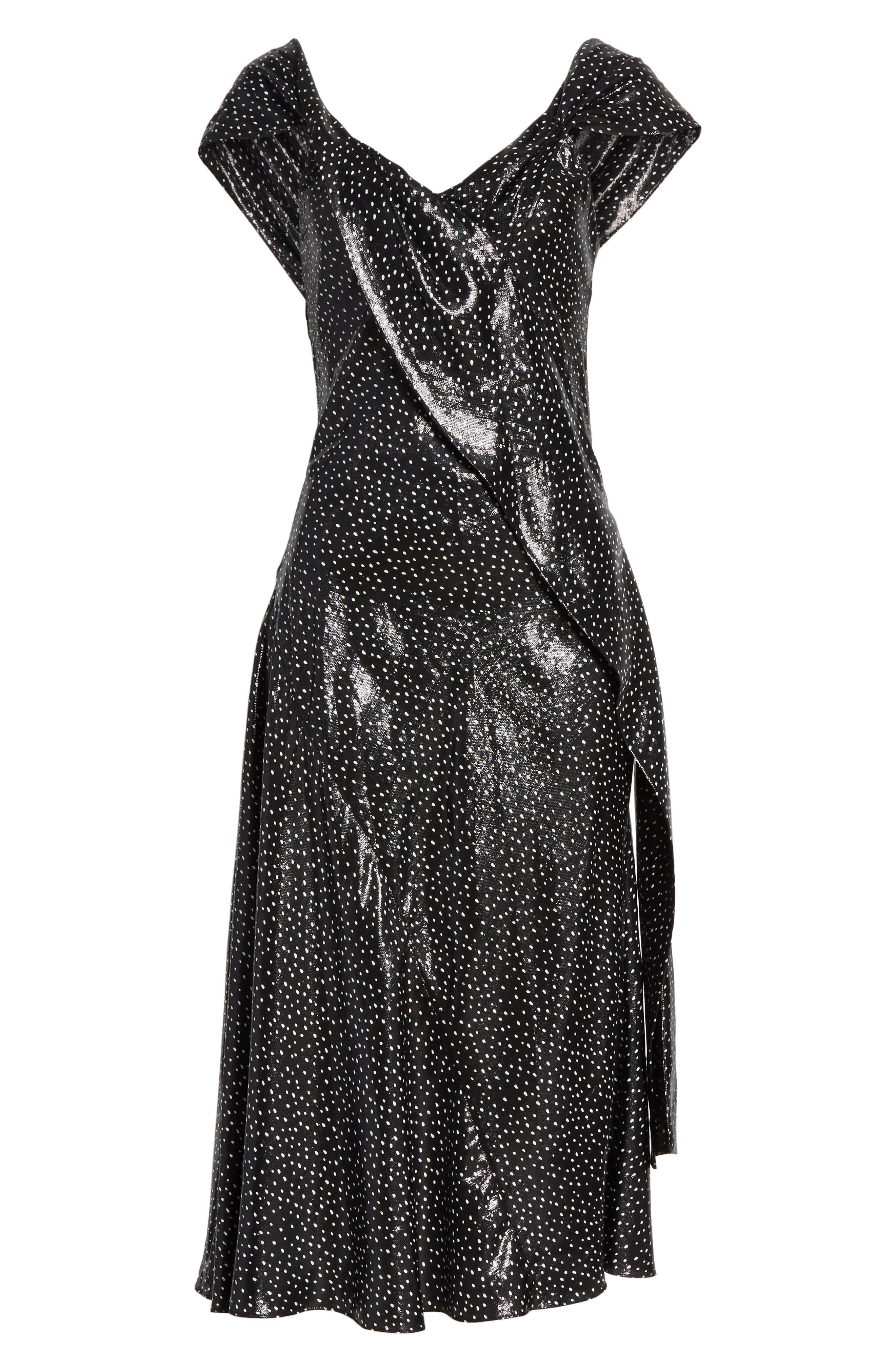 Metallic Dot Midi Dress,                             Alternate thumbnail 6, color,                             Irvine Dot Black