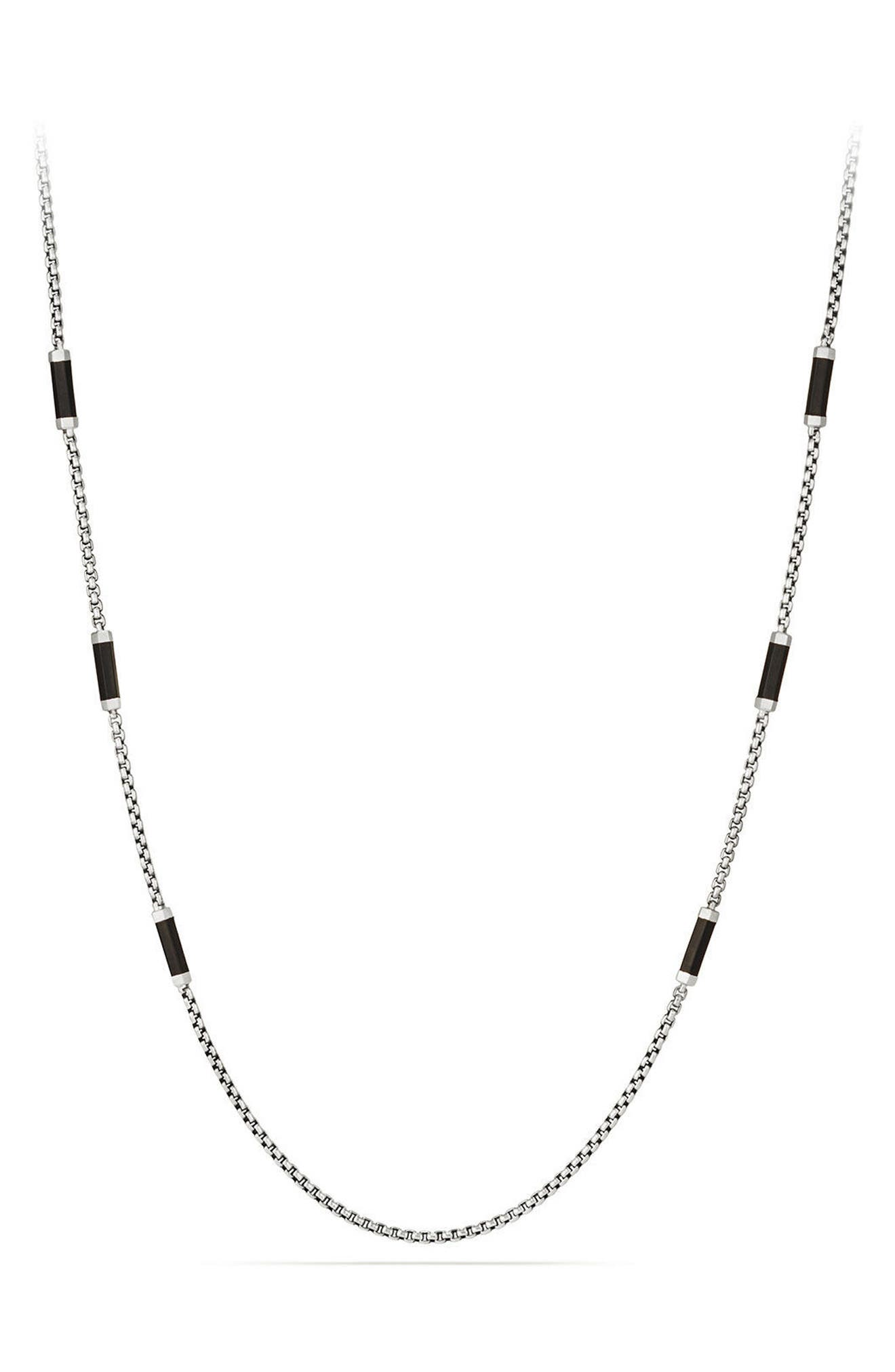 Hex Station Chain Necklace with Rubber,                         Main,                         color, Black