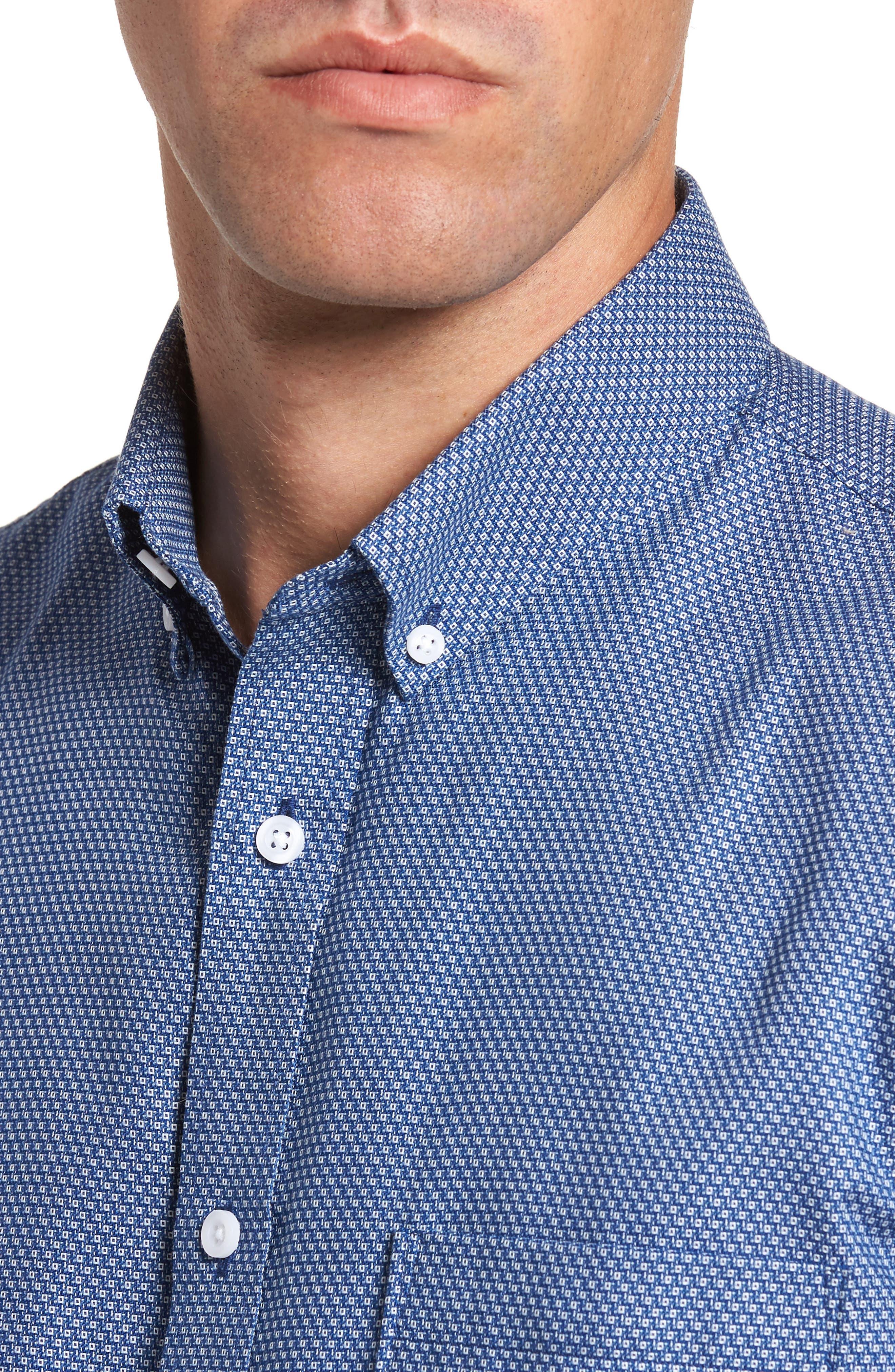 Non-Iron Regular Fit Print Sport Shirt,                             Alternate thumbnail 4, color,                             Blue Estate Square Dobby