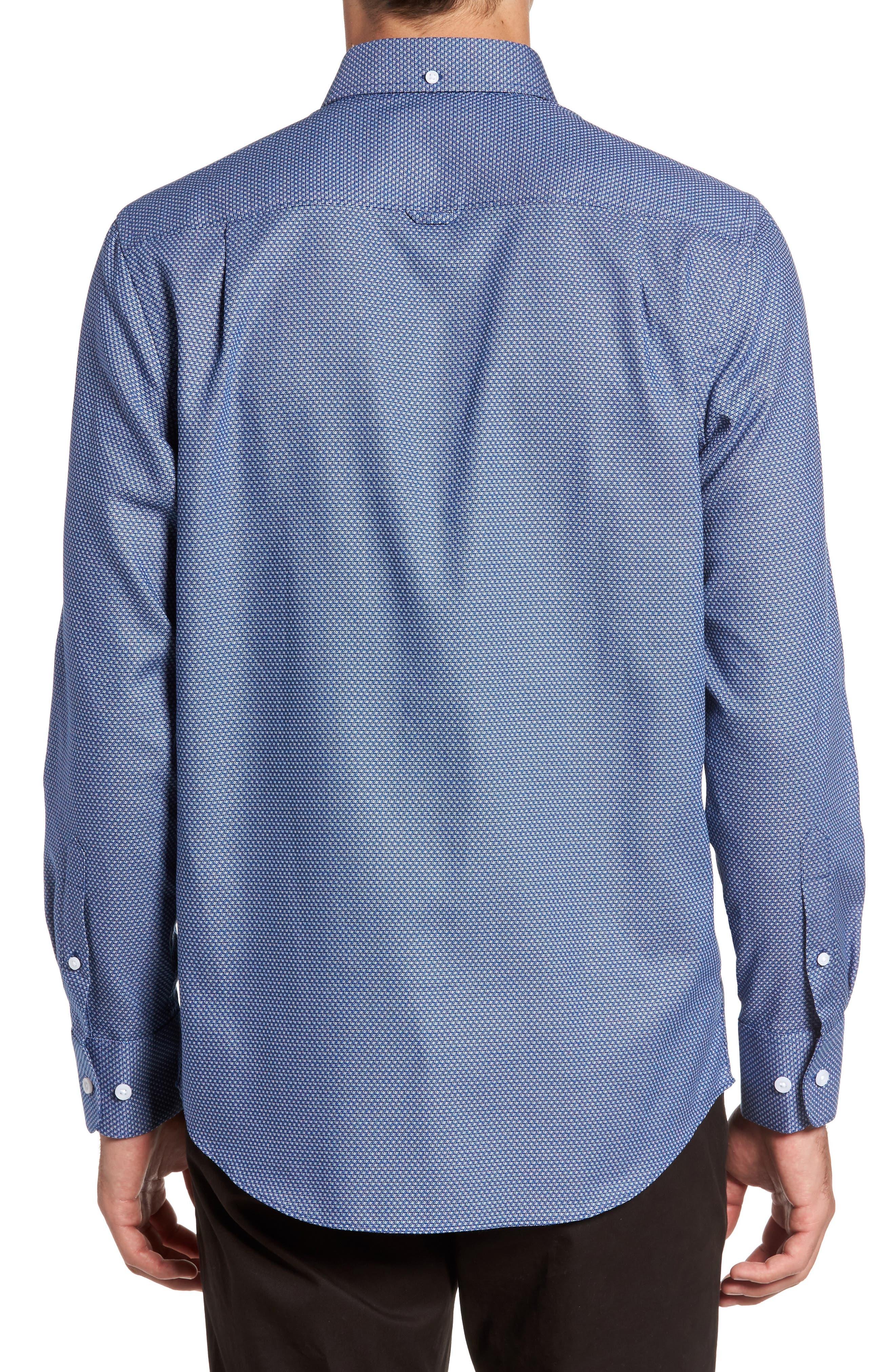 Non-Iron Regular Fit Print Sport Shirt,                             Alternate thumbnail 2, color,                             Blue Estate Square Dobby